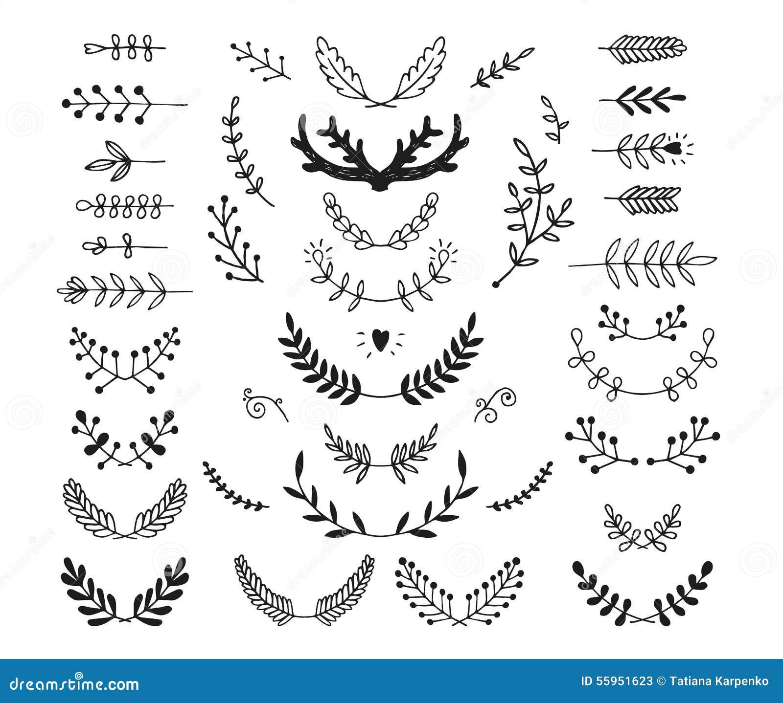 Reeks van getrokken vectorhand laurels, kroon, takken