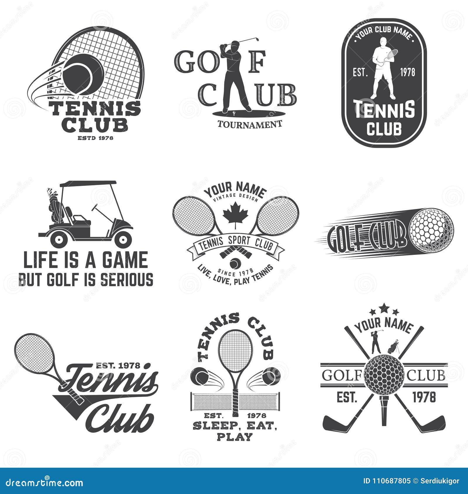 Reeks van Golfclub, het concept van de Tennisclub Vector illustratie