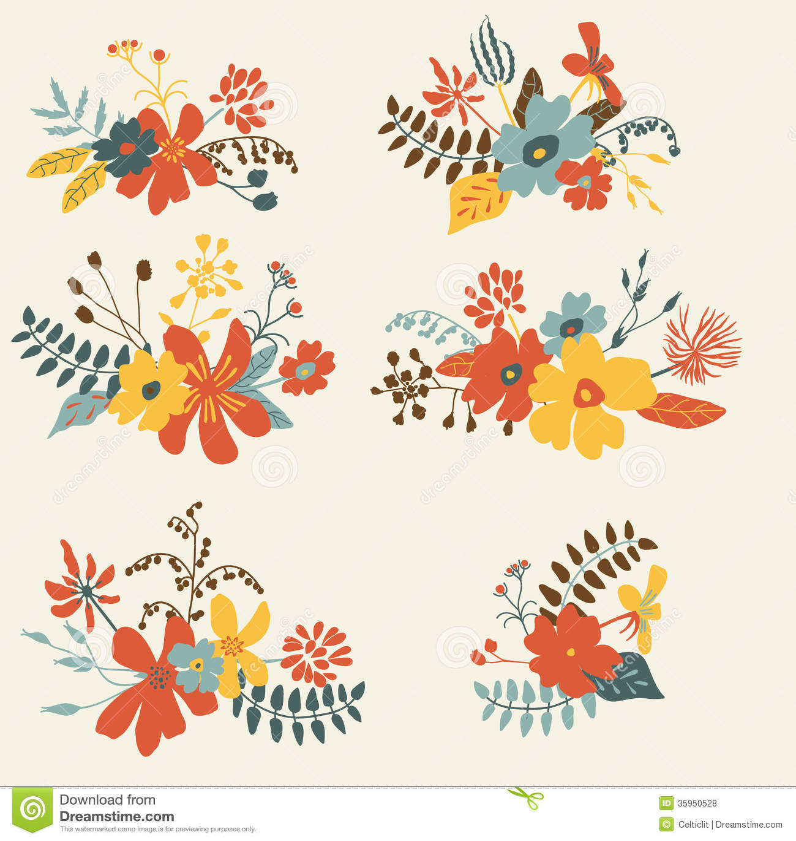 Reeks van grafisch bloemenontwerp zes