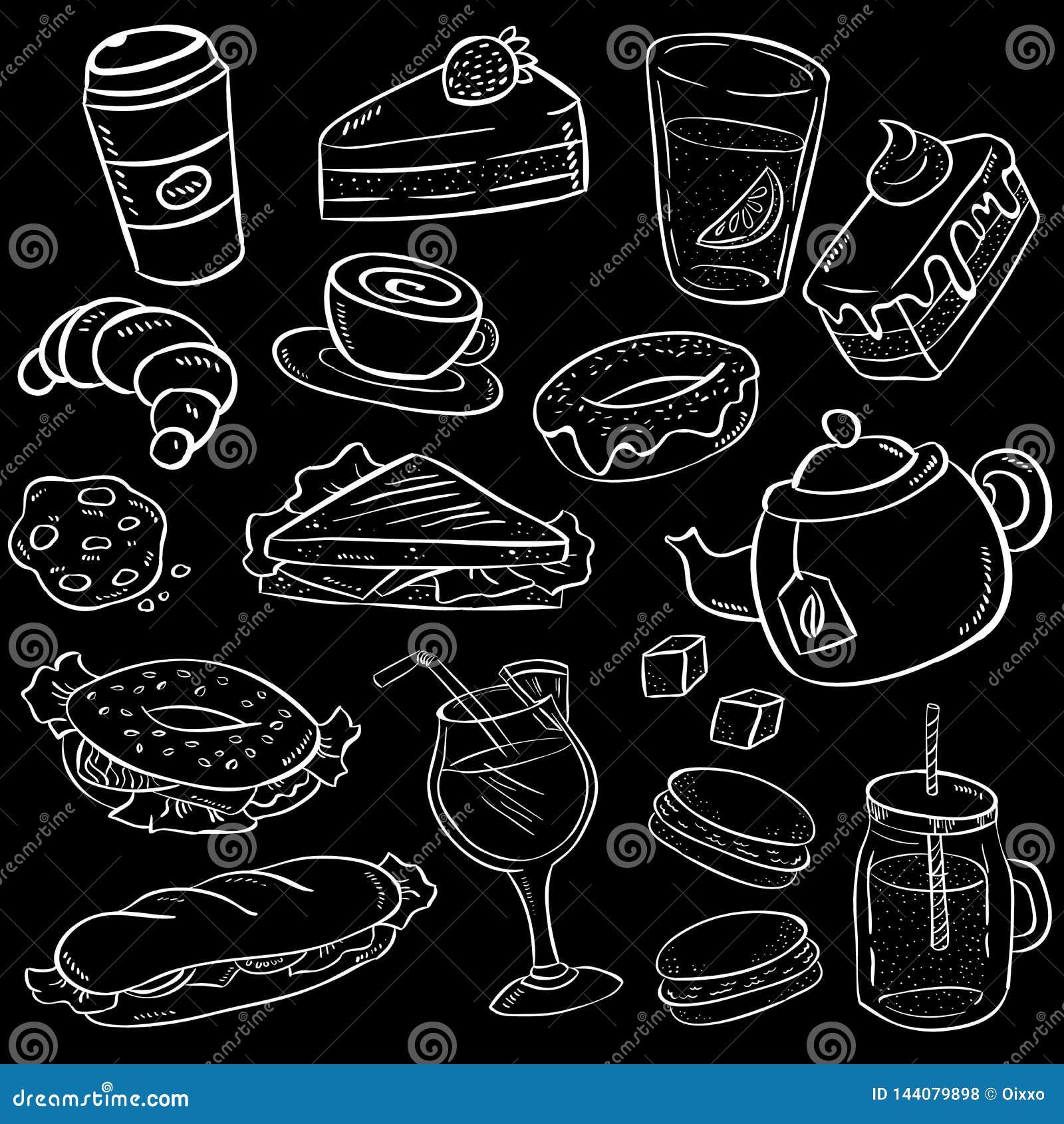 Reeks van hand getrokken voedsel en snack op bordachtergrond