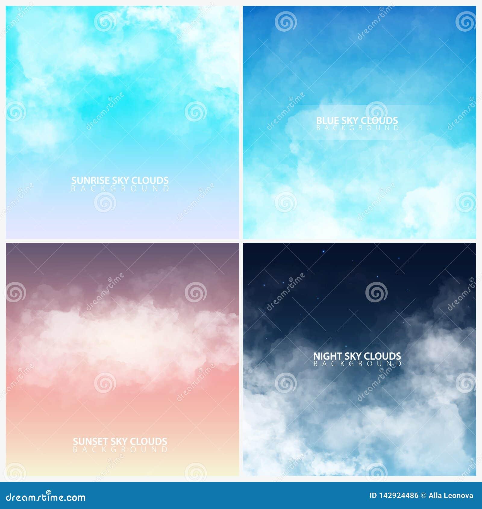 Reeks van hemel met witte realistische wolken zonsondergang, zonsopgang Blauw en nachthemel Vector illustratie