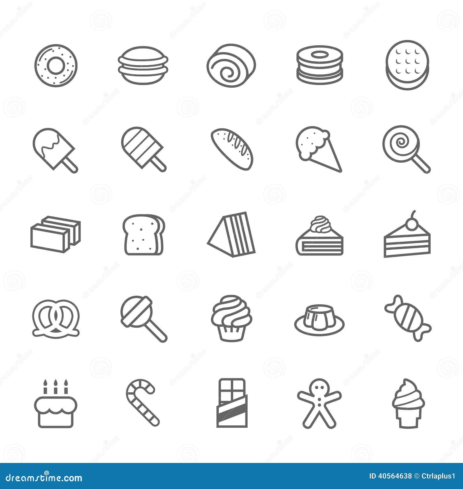 Reeks van het Dessert van de Overzichtsslag en Zoet pictogram