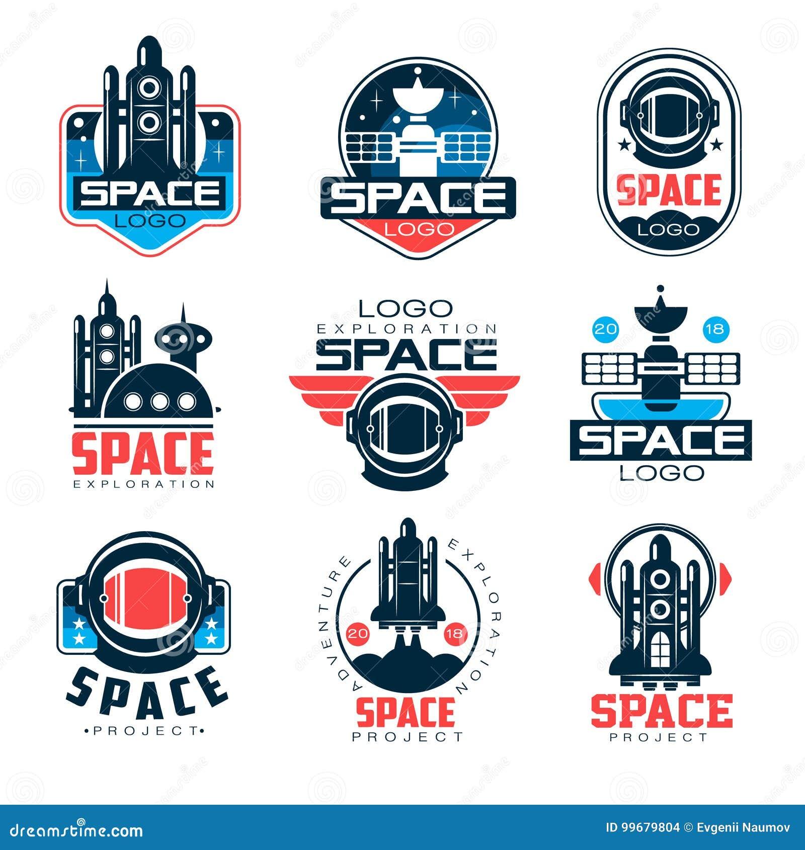 Reeks van het exploratie de ruimteembleem, ruimteproject vectorillustraties