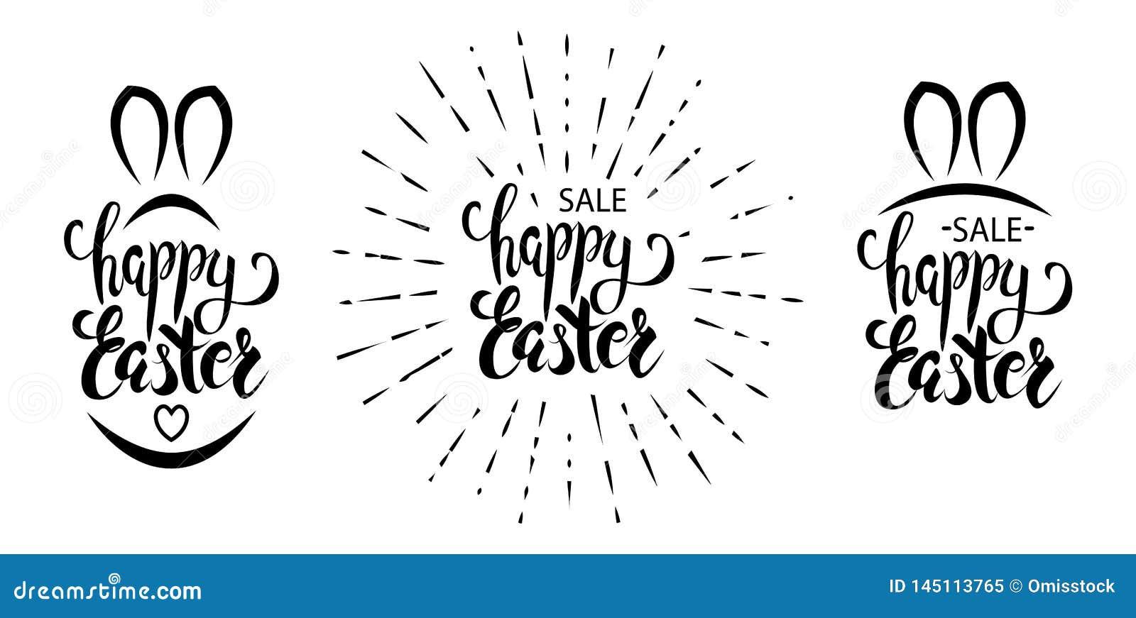 Reeks van het gelukkige vector van letters voorzien van Pasen