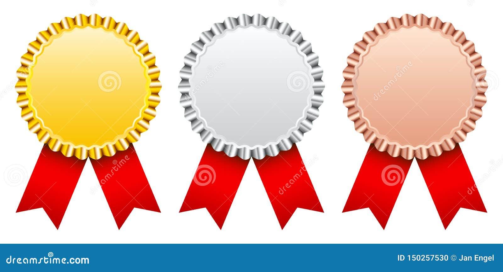 Reeks van het Gouden Zilveren Brons van Drie Toekenningskentekens met Rood Lint