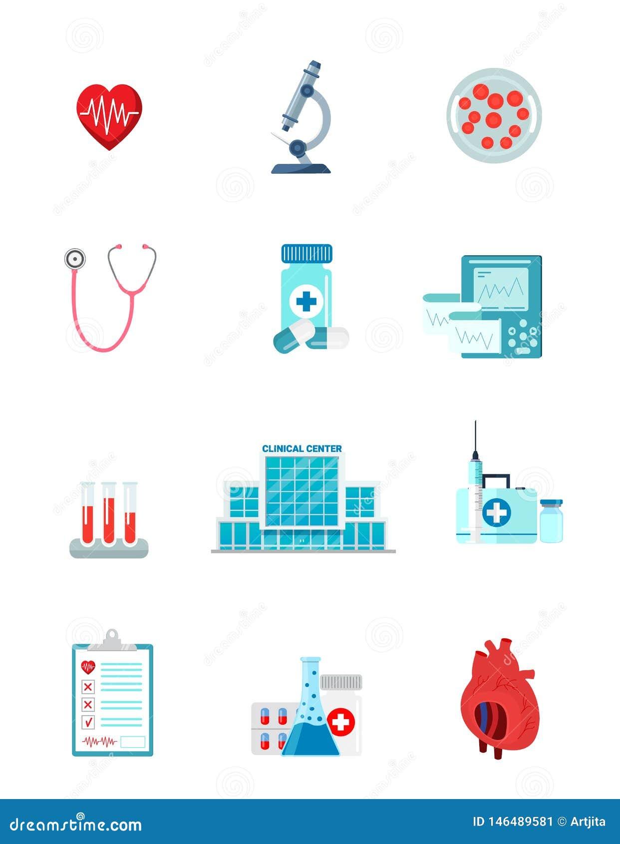 Reeks van het karakter van geneeskundepictogrammen