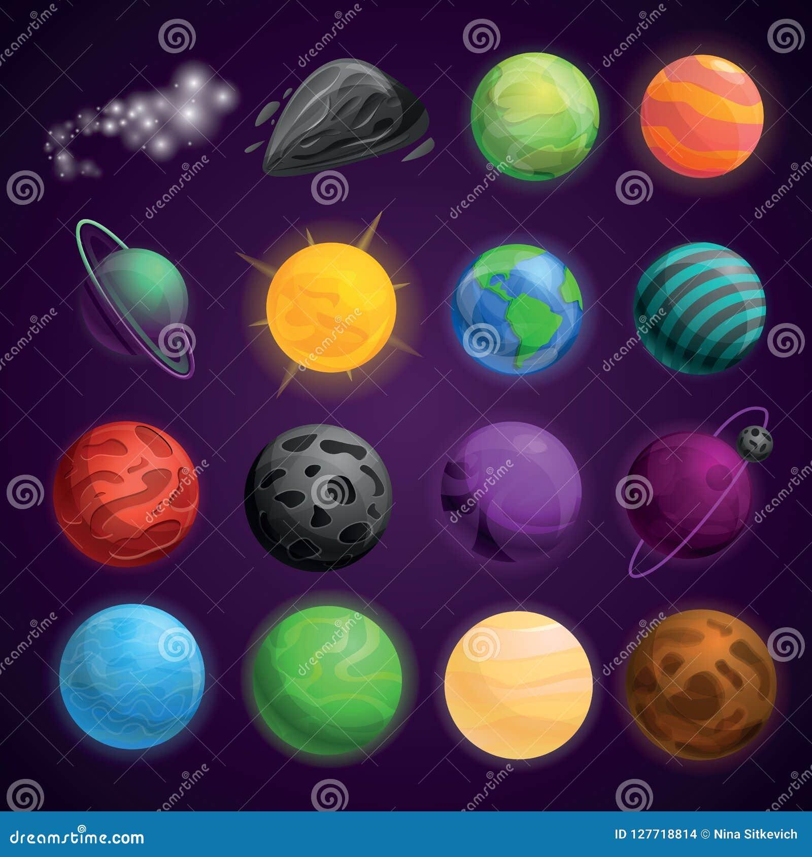 Reeks van het planeten de ruimtepictogram, beeldverhaalstijl