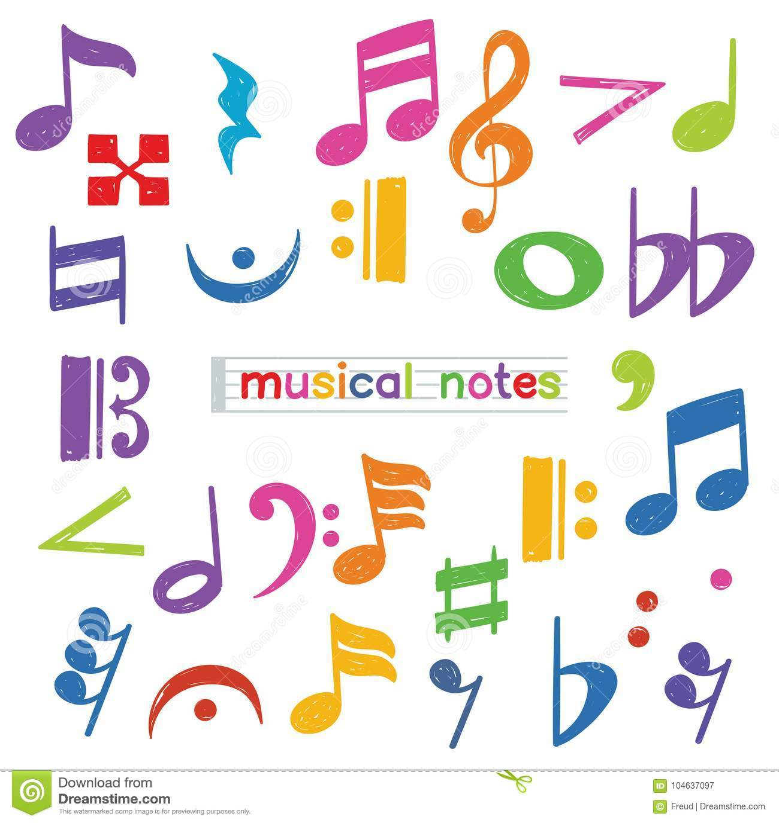 Download Reeks Van Het Symbool Van De Krabbelmuzieknoot Stock Illustratie - Illustratie bestaande uit achtergrond, creatief: 104637097