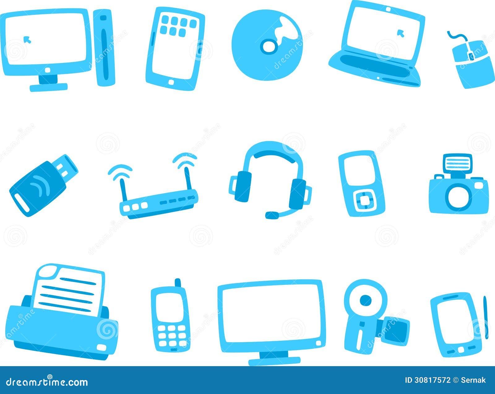 Reeks 1 van het technologie blauwe pictogram