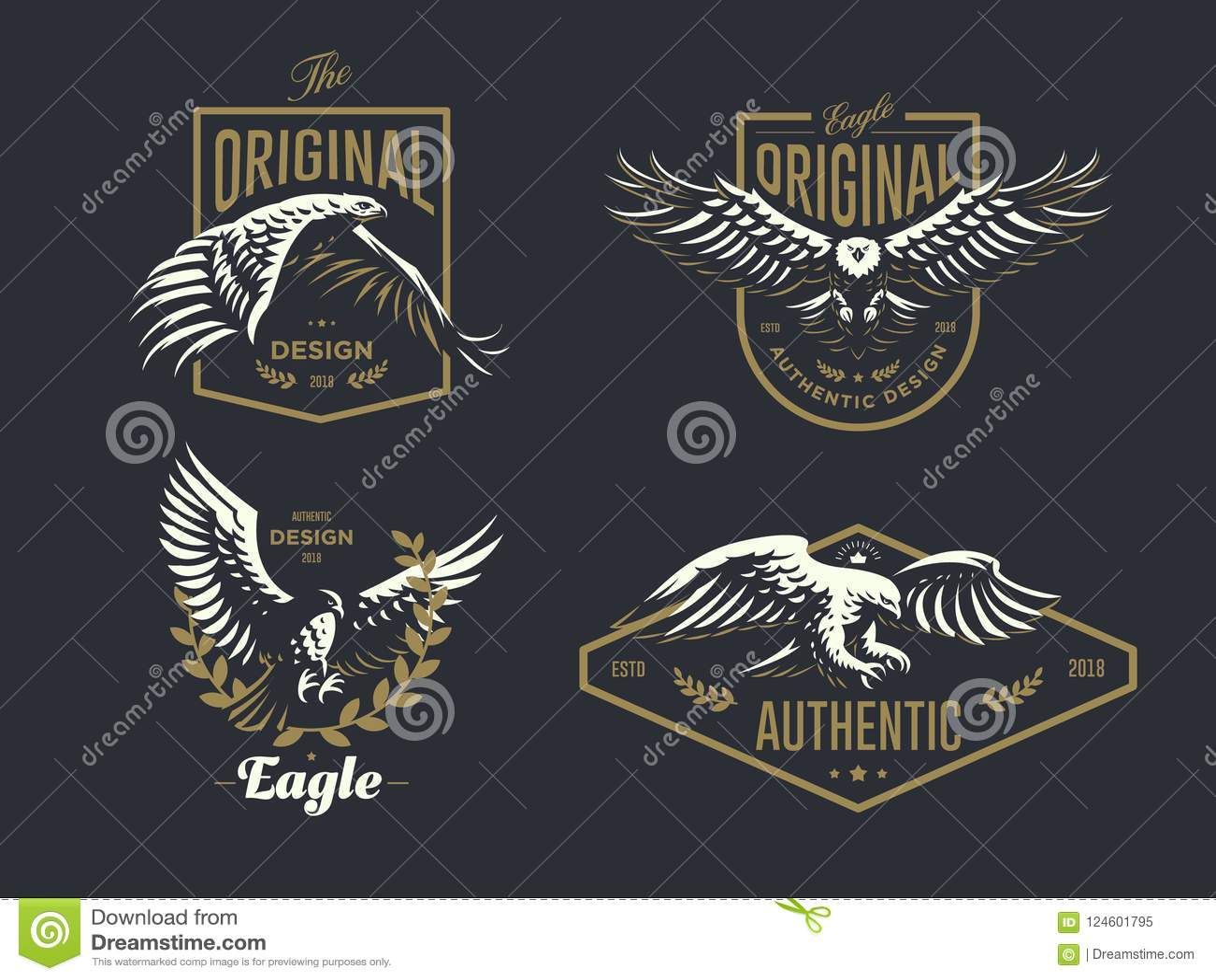 Reeks van het uitstekende embleem met de adelaar