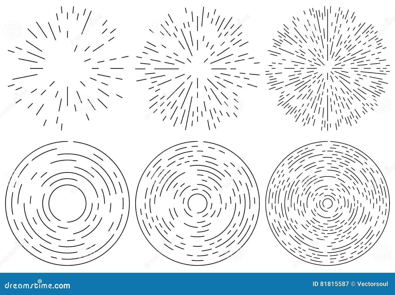 Reeks van het uitstralen en concentrisch lijnenelement Willekeurig, onregelmatig