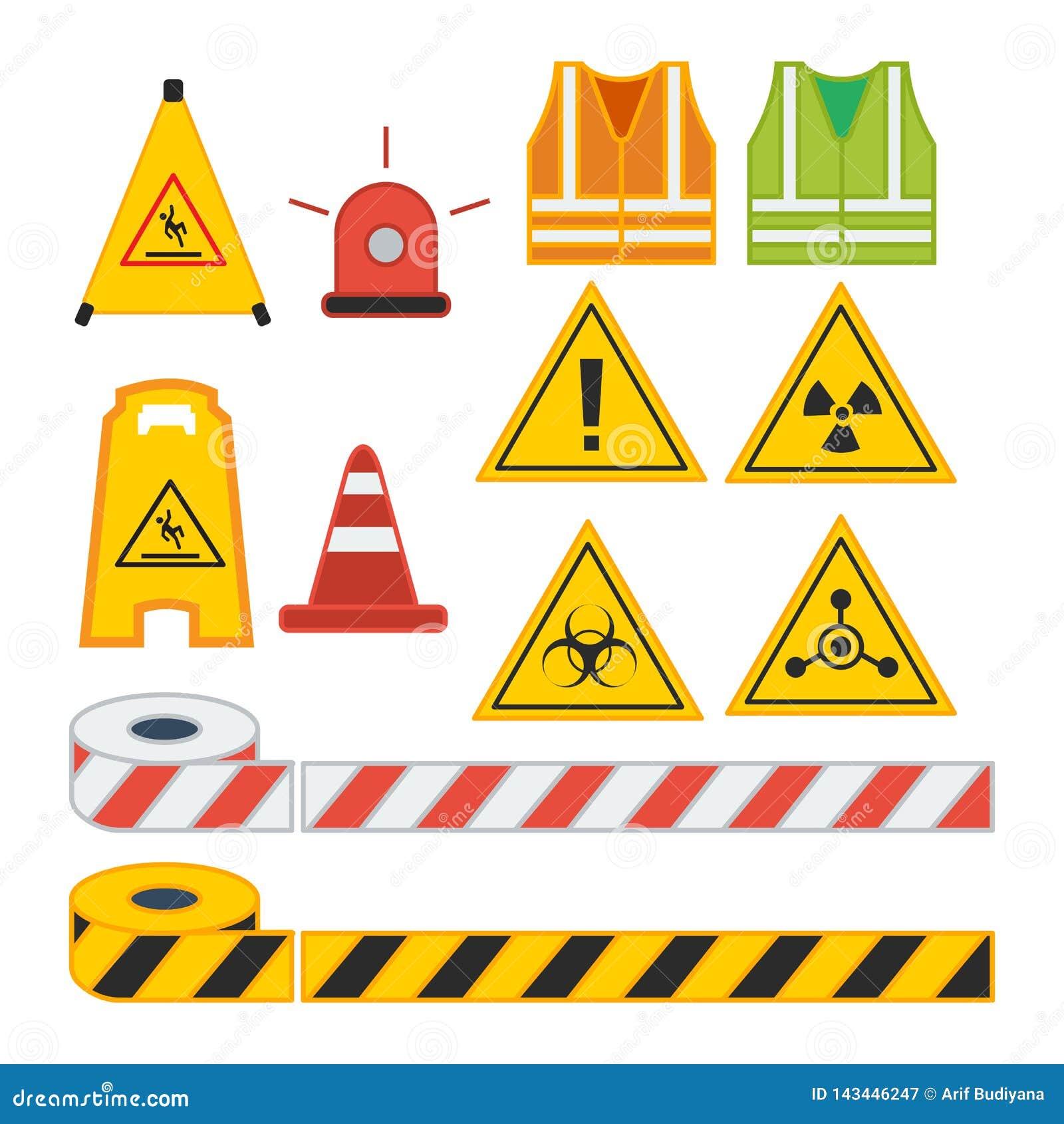 Reeks van het vectorteken van de illustratievoorzichtigheid voor veiligheidsmateriaal