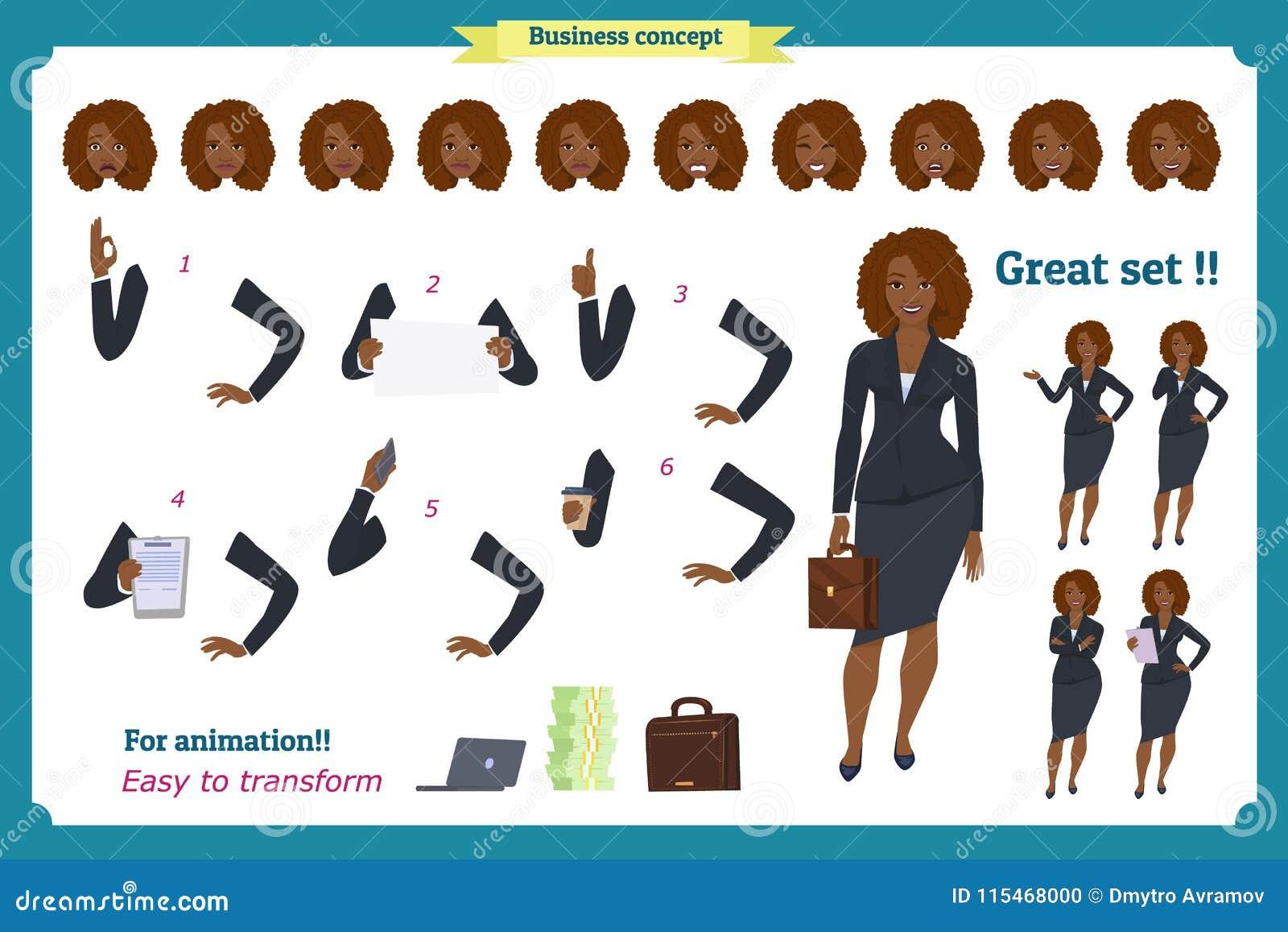 Reeks van het Zwarte ontwerp van het Onderneemsterkarakter Voor, zij, achtermening geanimeerd karakter Bedrijfsmeisjeskarakter