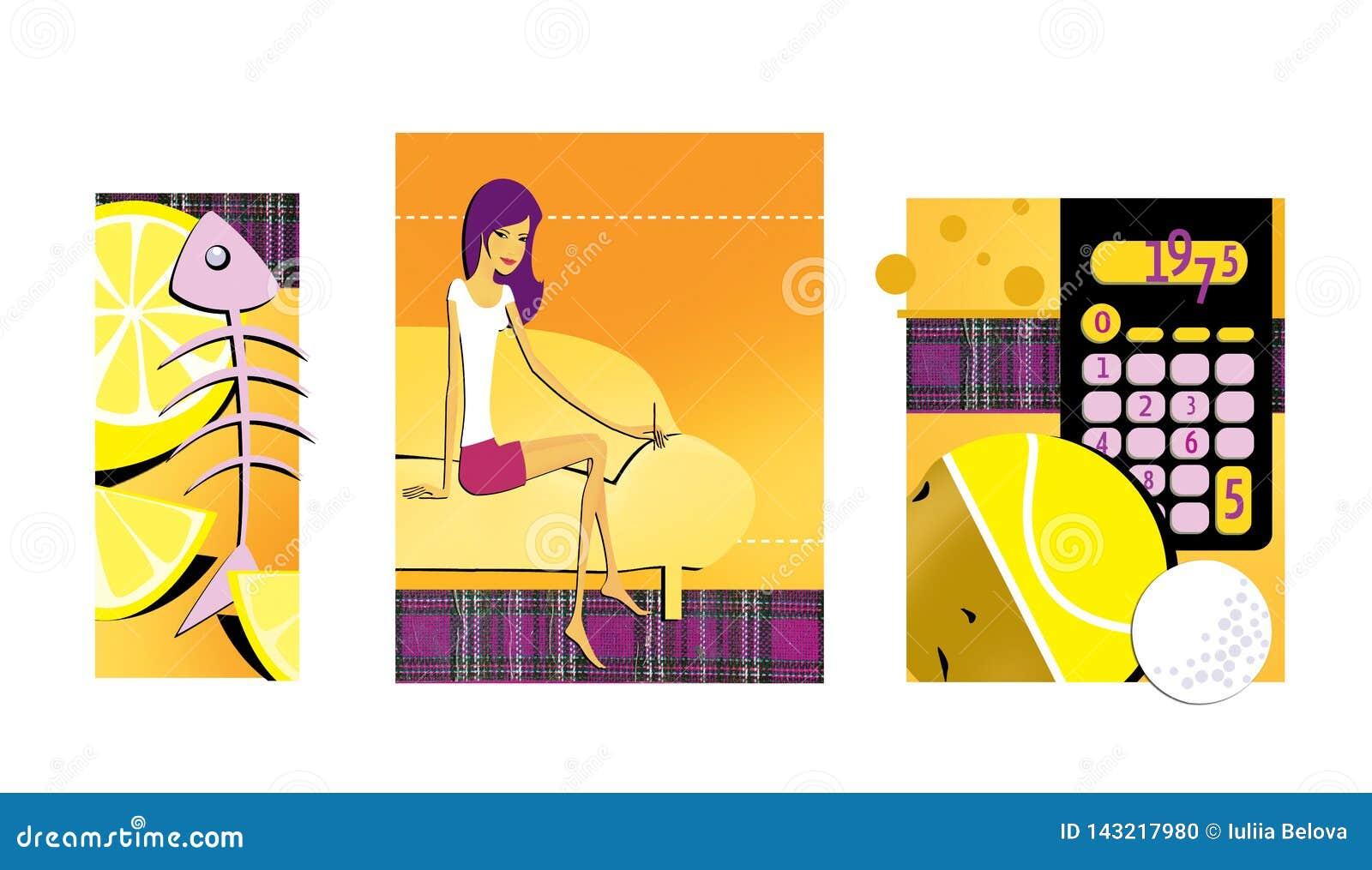 Reeks van 3 illustraties op het thema van dieet en gewichtsverlies Citroen en het skelet van de vissen Een dun brunette met lange
