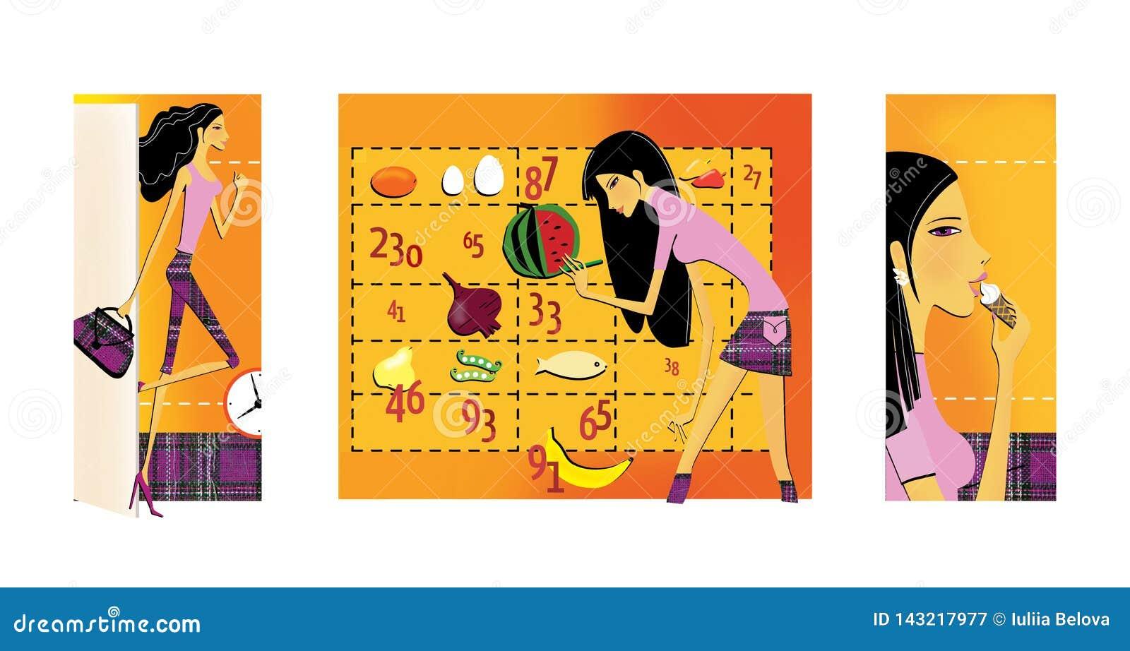 Reeks van 3 illustraties op het thema van dieet en gewichtsverlies Een dun, met lange benen brunette gaat de open deur in Het mei