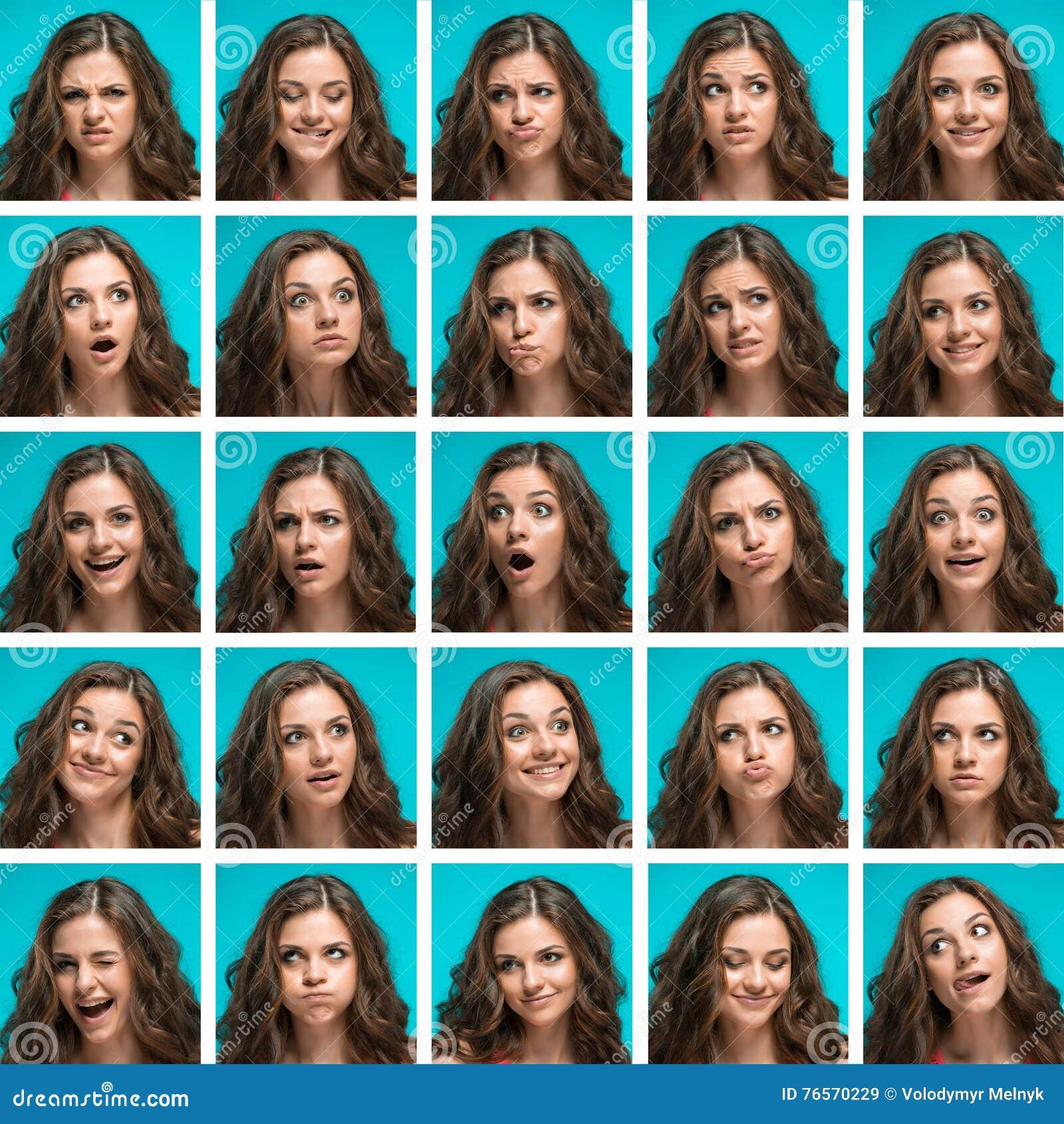 Reeks van jonge woman& x27; s portretten met verschillende gelukkige emoties