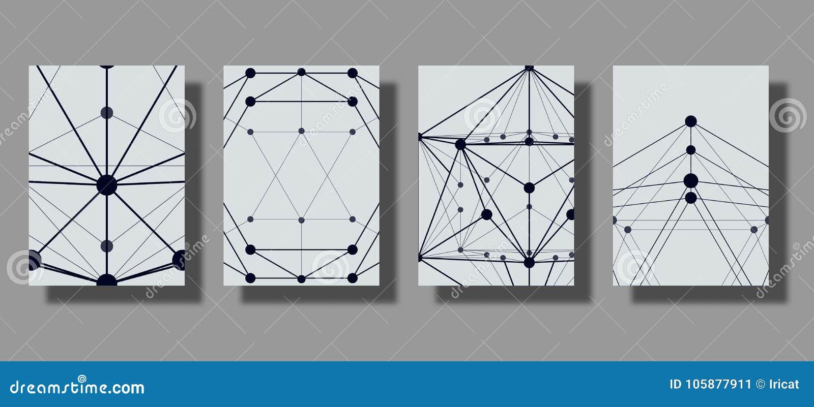 Reeks van kader Moderne geometrische grafiek met vlak patroon, een net van lijnen en punten Modieuze technische achtergrond Toepa