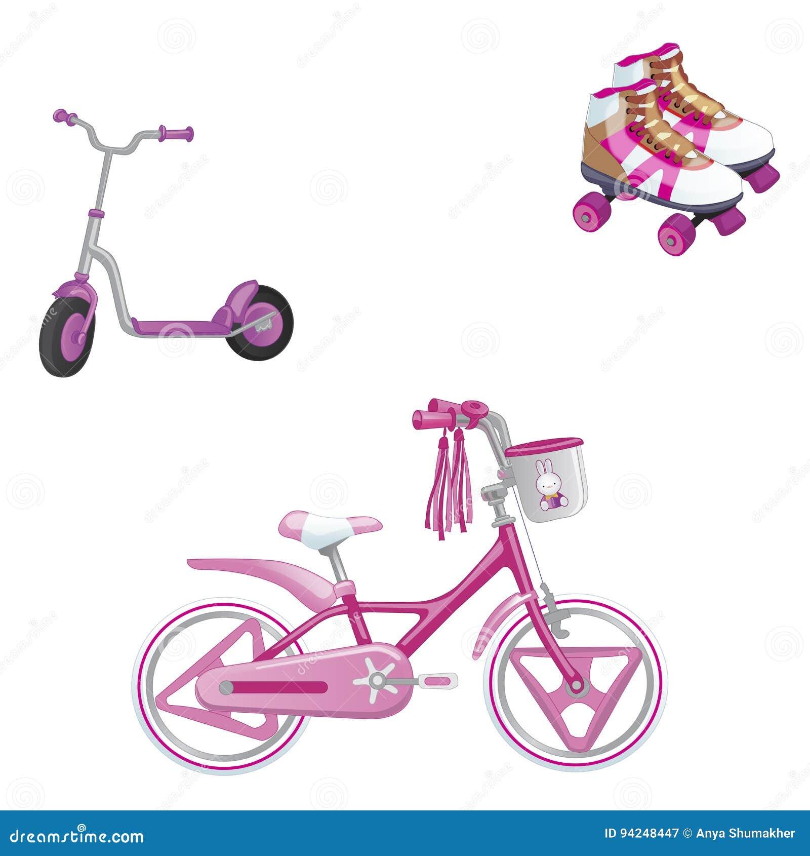 Reeks van kinderen` s vervoer Ecovervoer voor jonge geitjes Leuke jonge geitjesfiets, rol het schaatsen en rolautoped voor een me