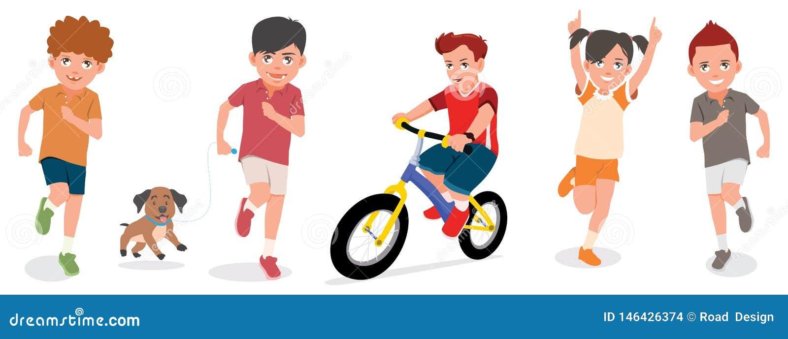 Reeks van Kinderenspel met Vrolijke Gezichten Vectorillustratie