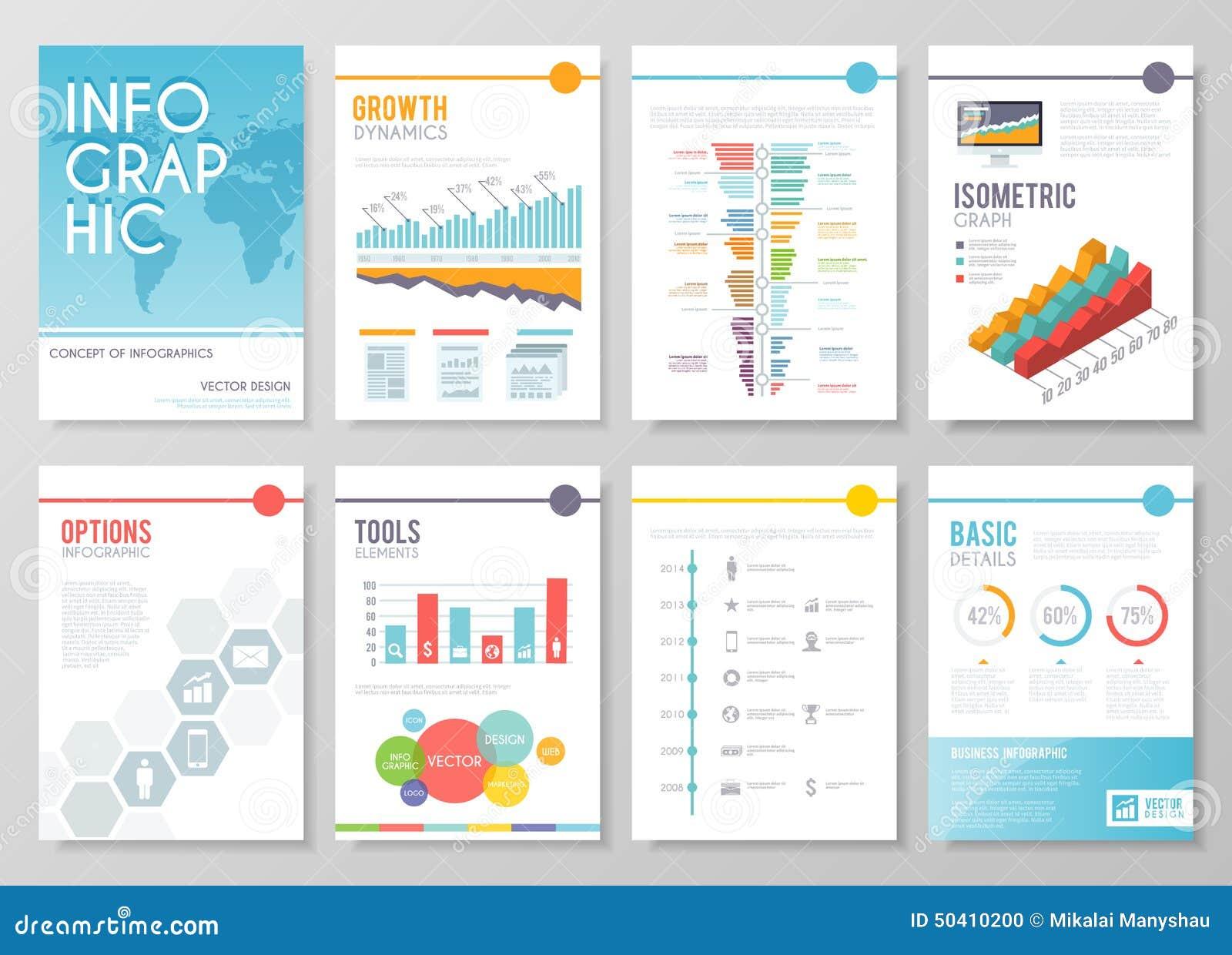Reeks van kleurrijke infographic vectorzaken