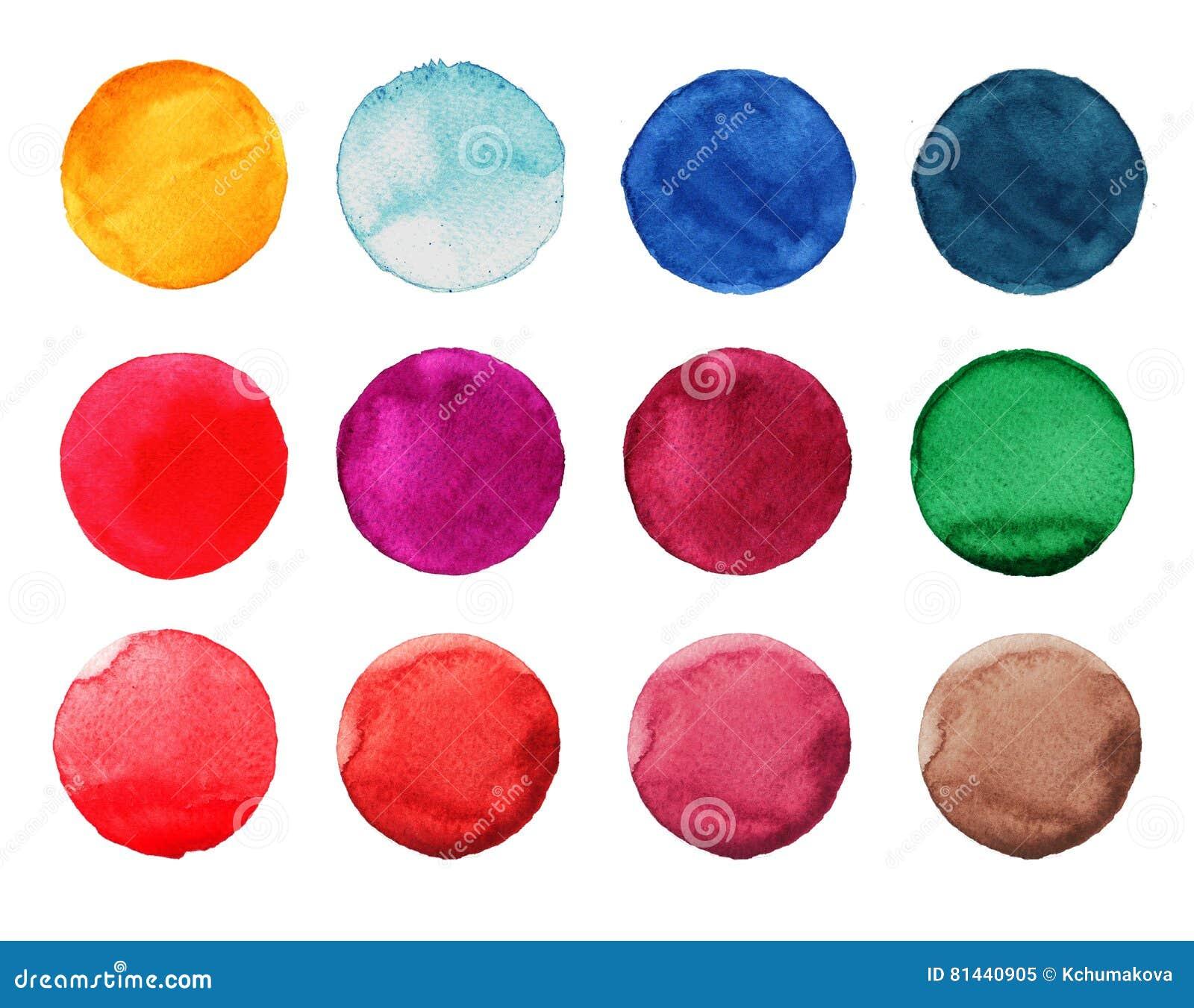 Reeks van kleurrijke waterverfhand geschilderde cirkel op wit Illustratie voor artistiek ontwerp Ronde vlekken, rood vlekkenblauw