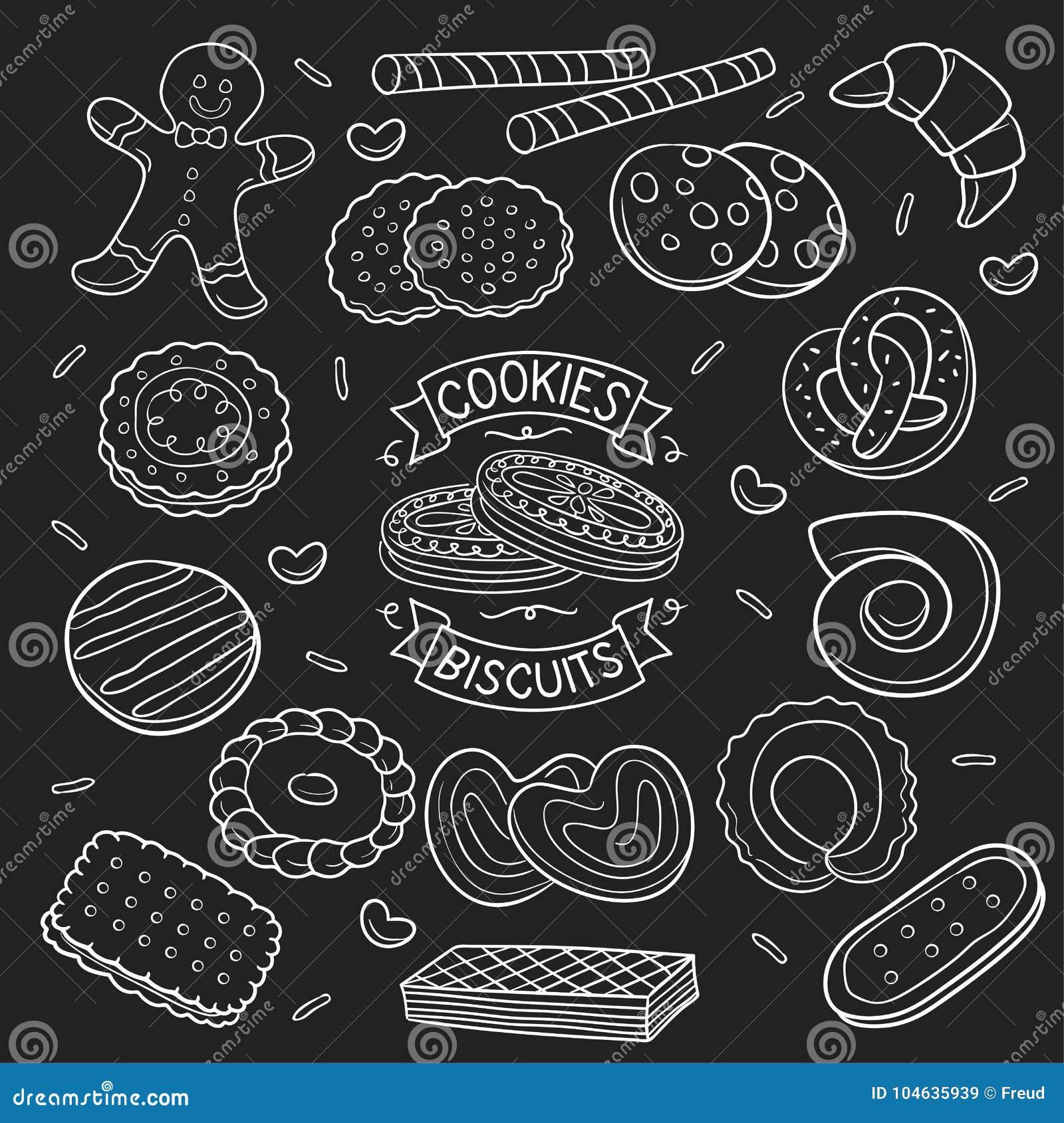 Download Reeks Van Krabbelkoekjes En Koekje In Bord Vector Illustratie - Illustratie bestaande uit achtergrond, tekening: 104635939