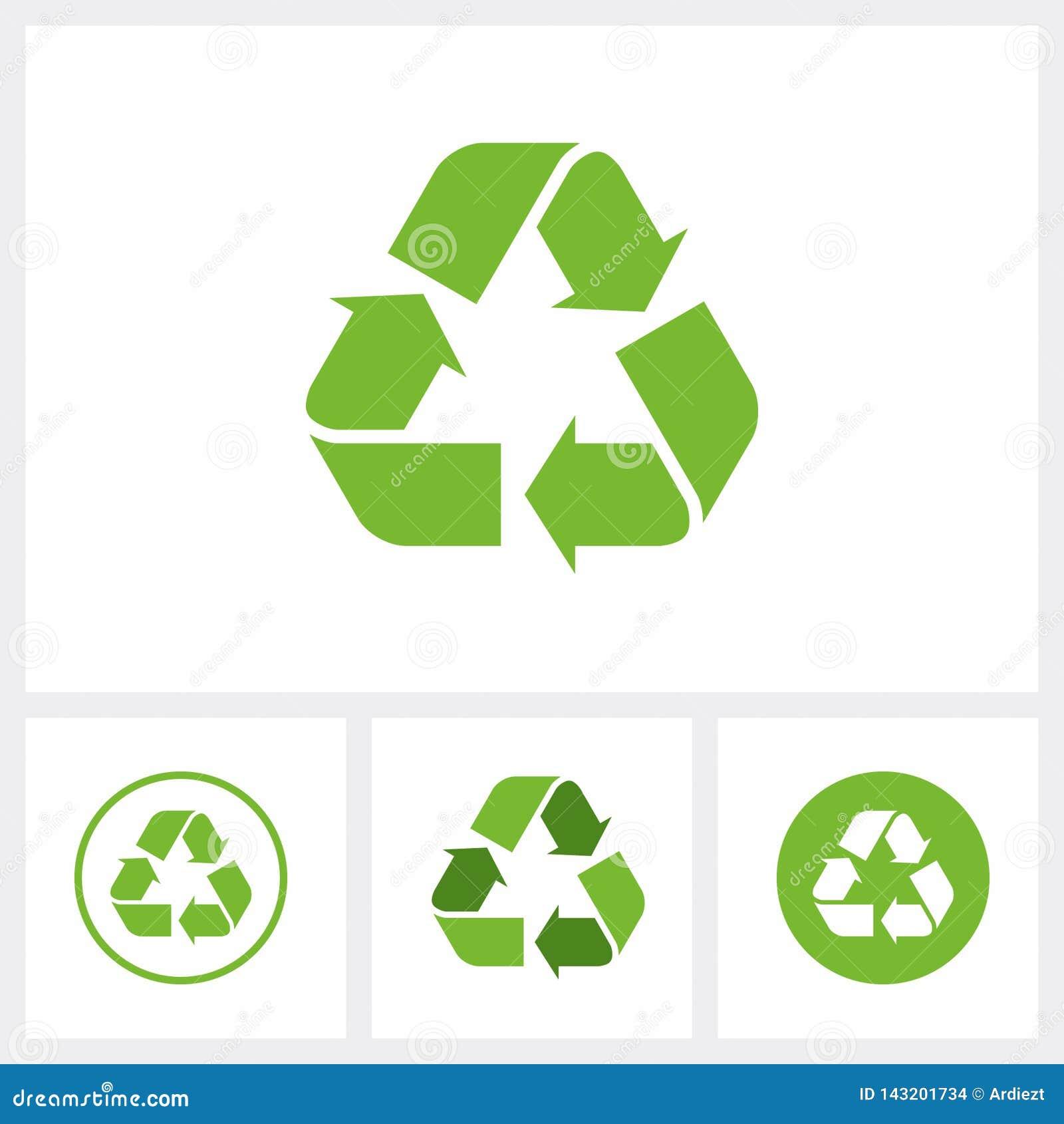 Reeks van kringlooppictogram Recycleer symbool, eco groene kleur