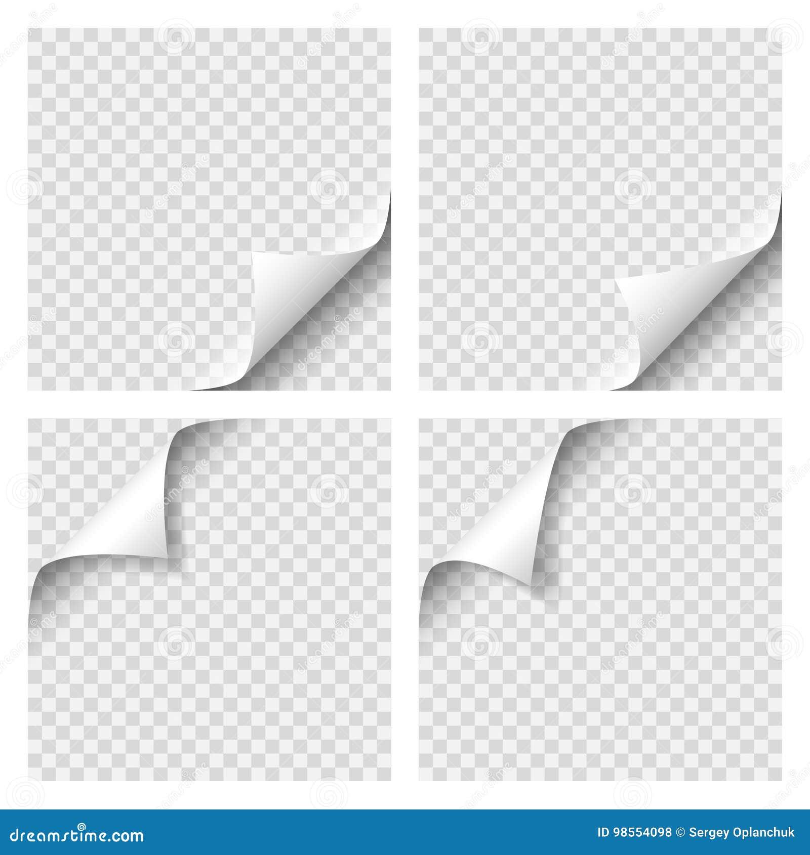 Reeks van Krullende Paginahoek Leeg blad van document met paginakrul met transparante schaduw Realistische vectorillustratie