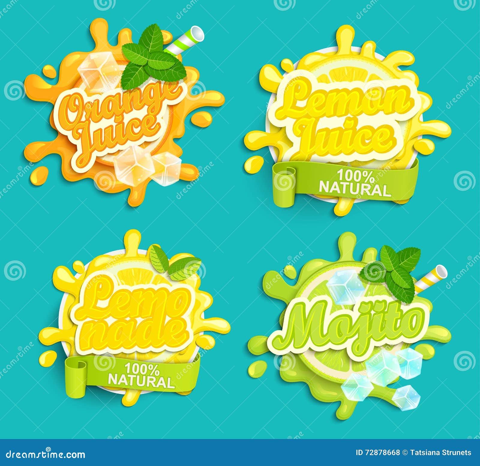Reeks van Limonade, Sinaasappel, Citroensap, Mojito-etikettenplons