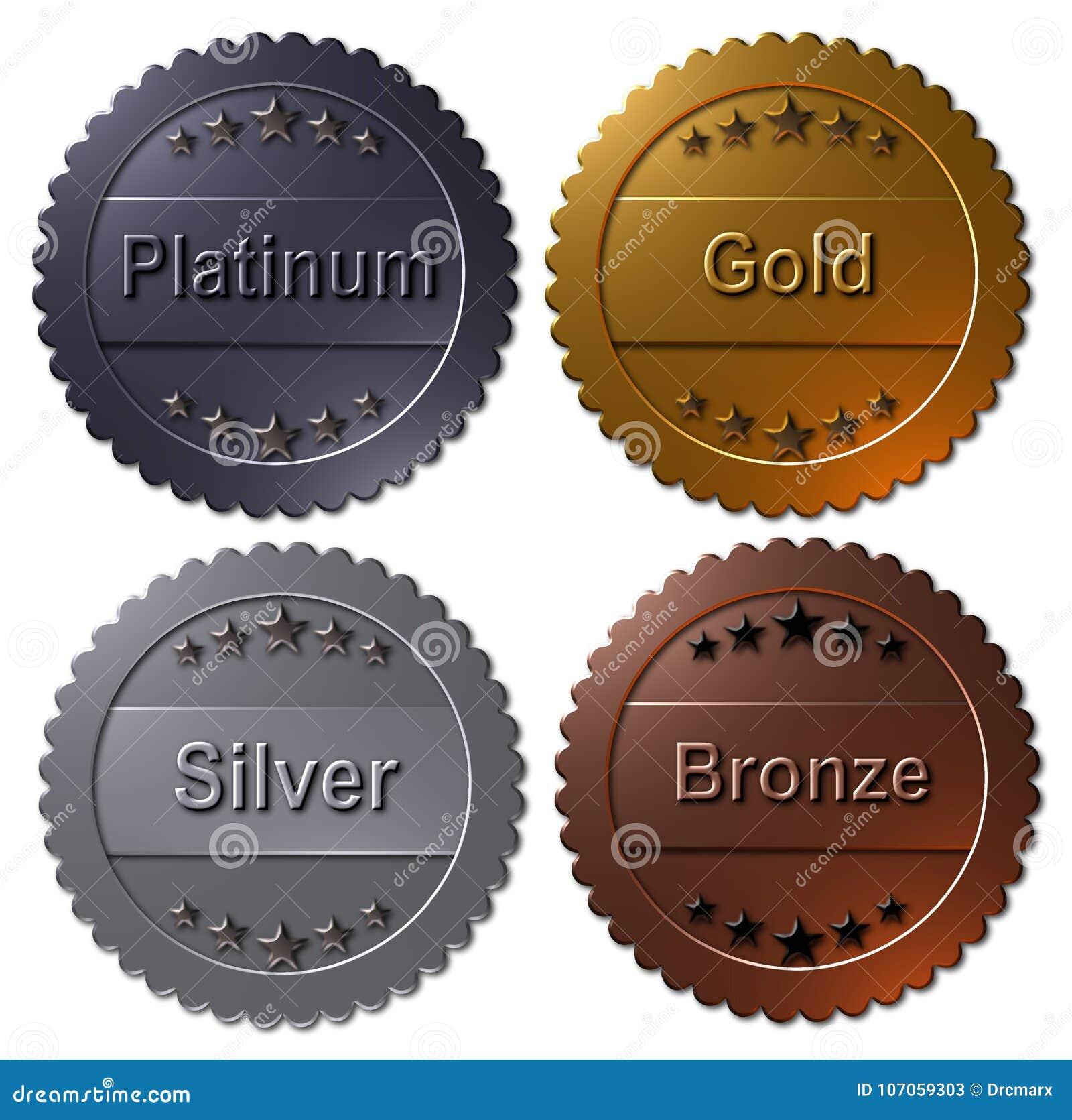 Reeks Van 4 Medailles Paltinum Goud Zilver Brons Stock