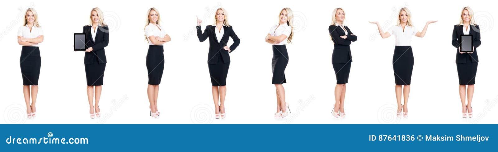 Reeks van mooie, aantrekkelijke die onderneemster op wit wordt geïsoleerd Zaken, het concept van het carrièresucces