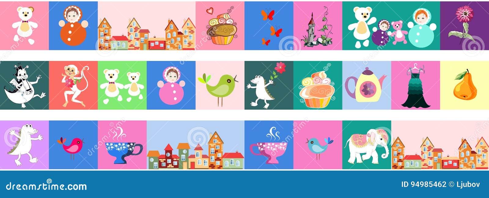 Reeks van mooie vectorgrens Lapwerk voor kinderen Helder patroon met speelgoed, cake, kasteel, aap, krokodil, draak, vogels