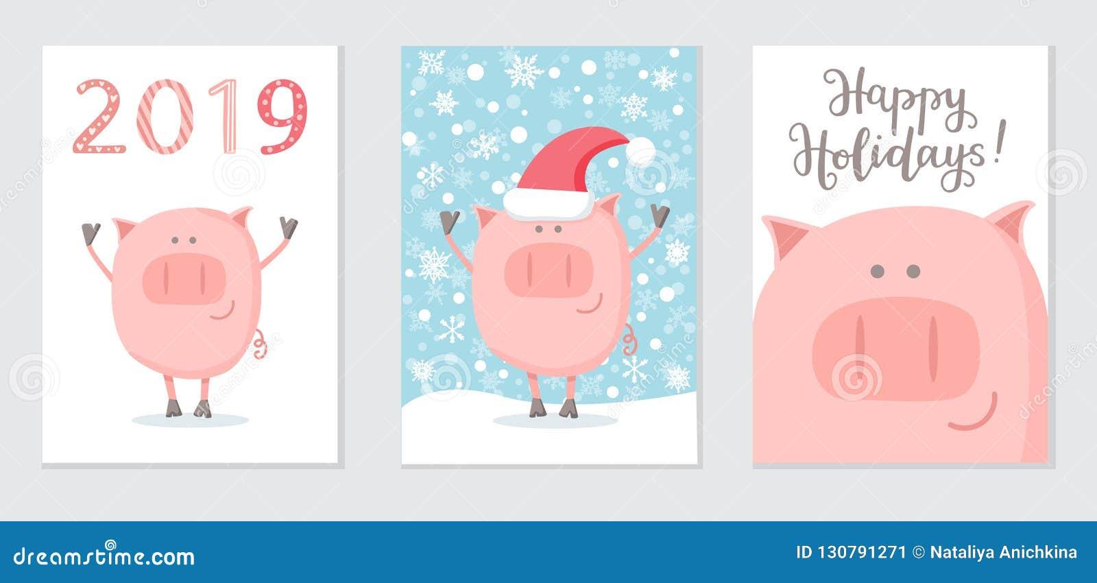 Reeks van Nieuwjaar 2019 kaarten met een gelukkig varken