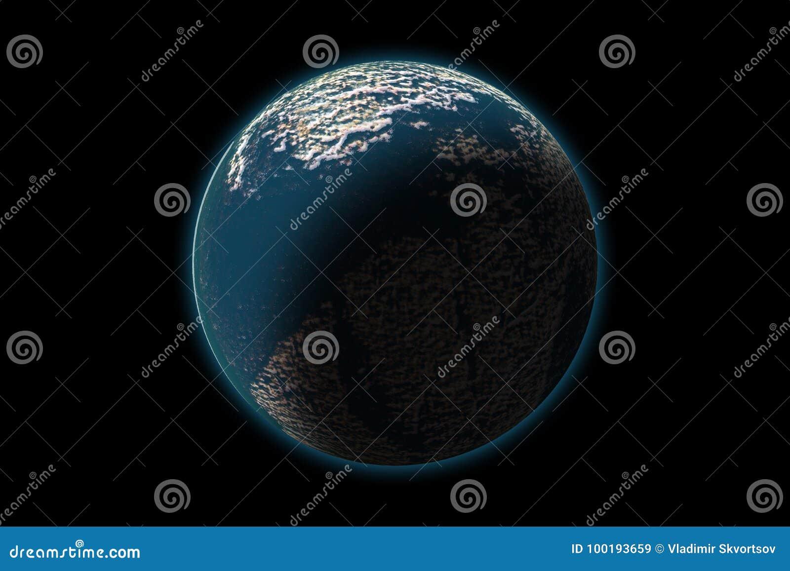 Reeks van onbekende planeet op fototextuur, die op zwarte wordt geïsoleerd