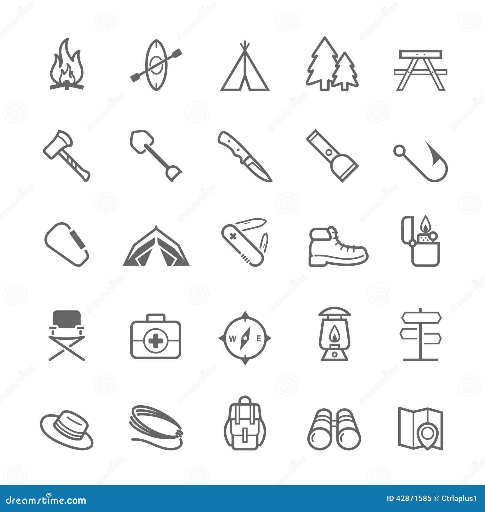 Reeks van Overzichtsslag het Kamperen pictogram