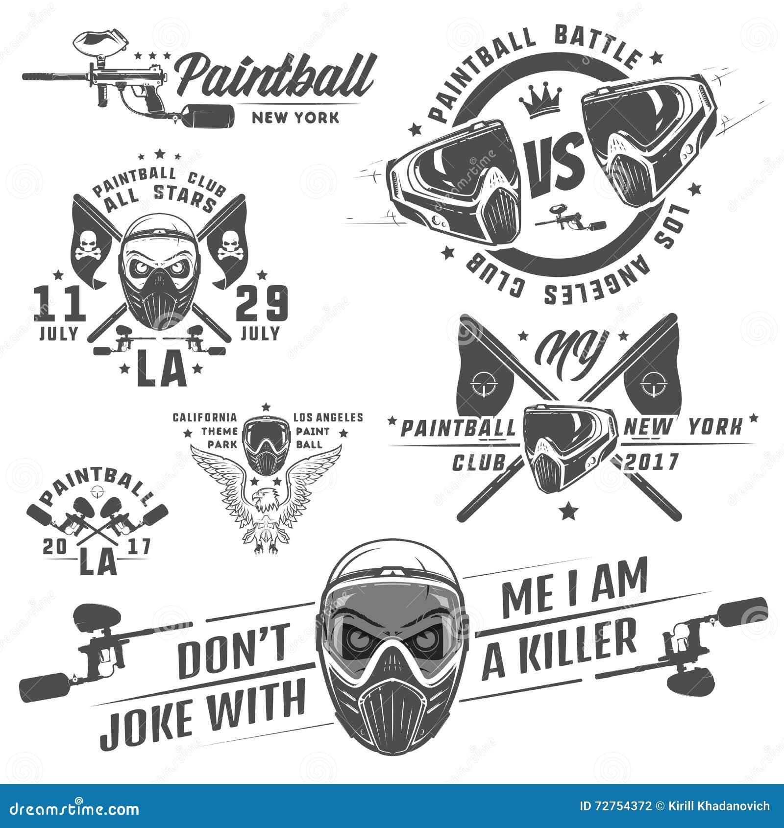 Reeks van paintball, paintball ontwerp, paintball tatoegering
