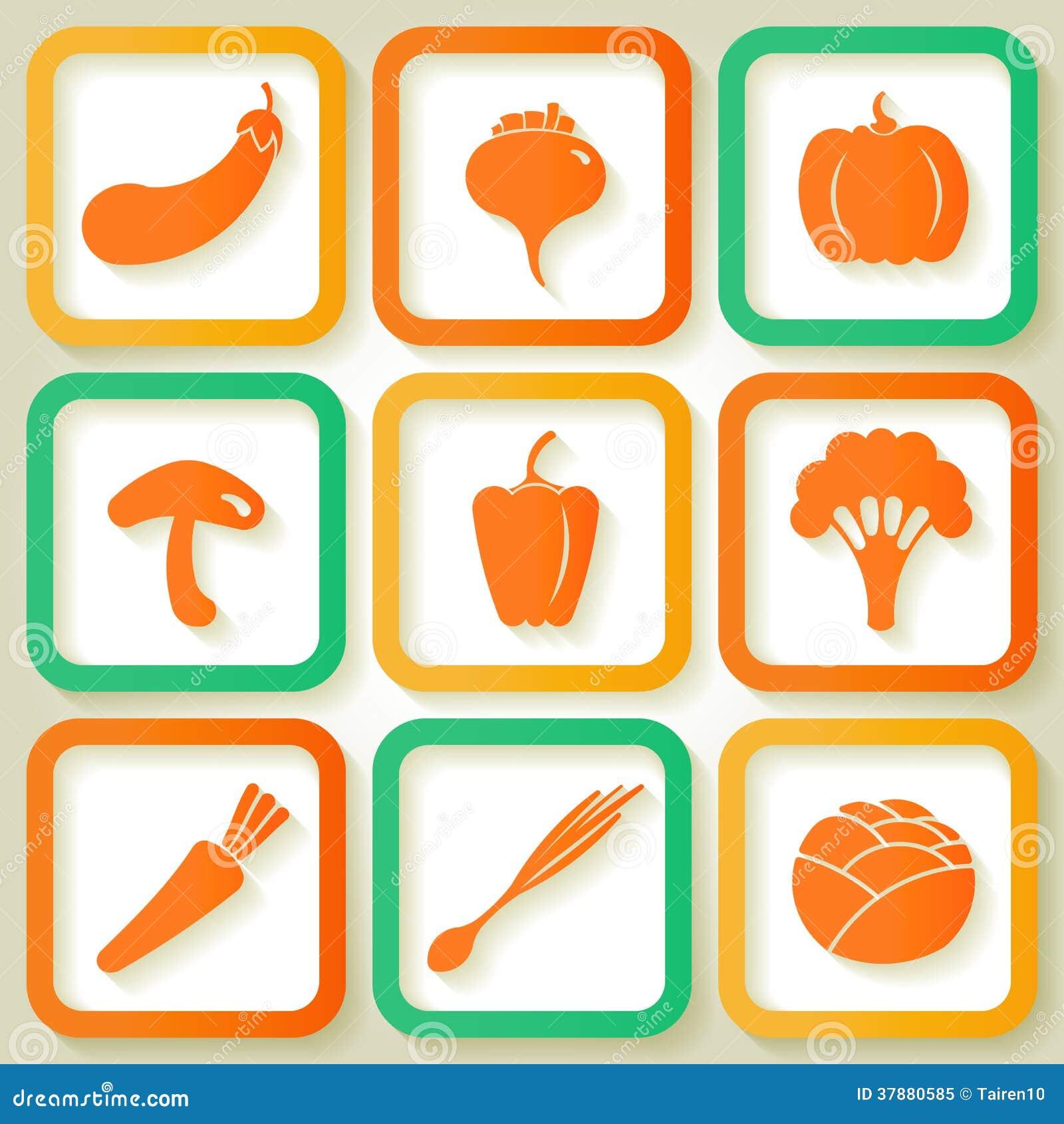 Reeks van 9 pictogrammen met groenten