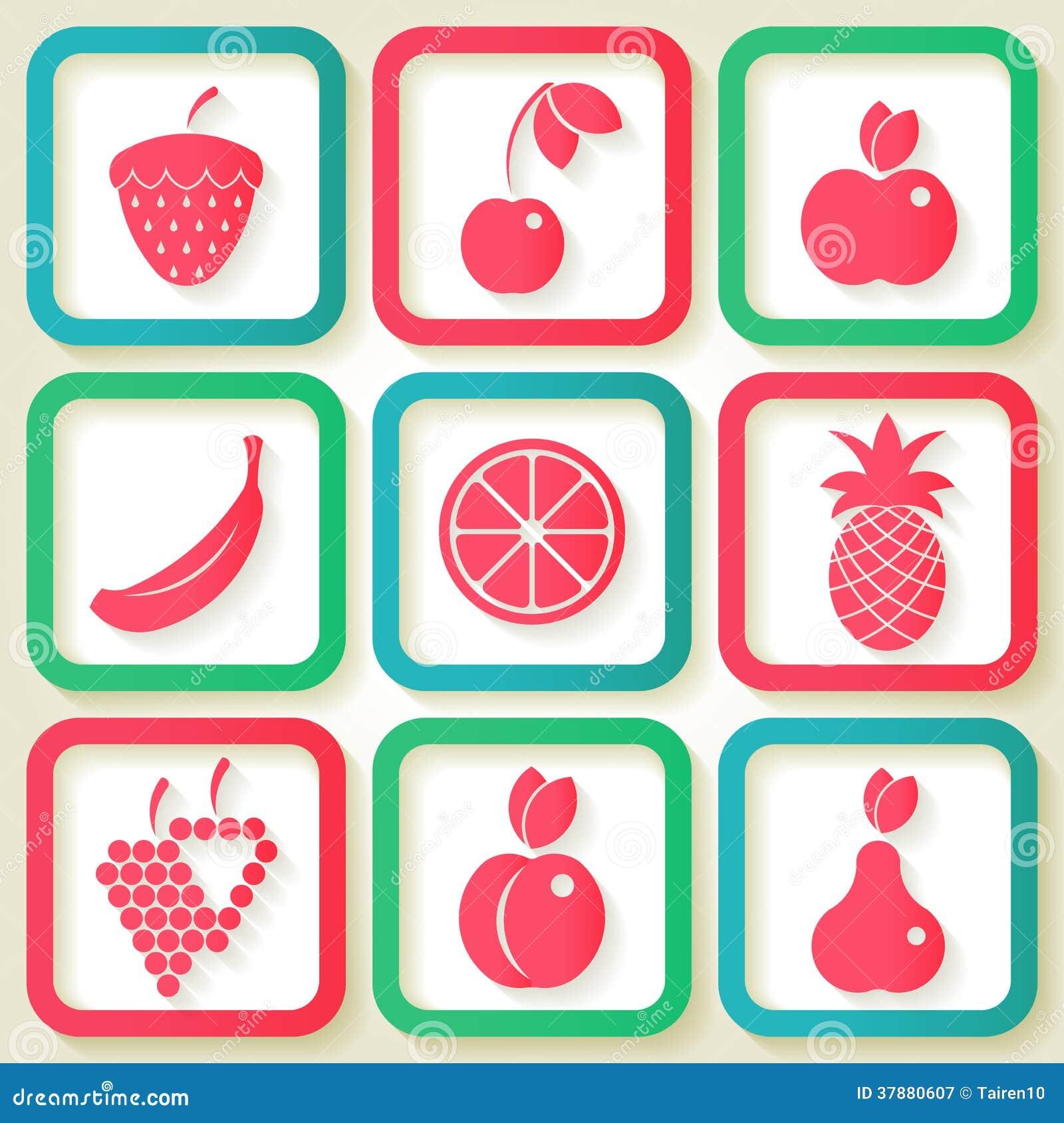 Reeks van 9 pictogrammen met vruchten
