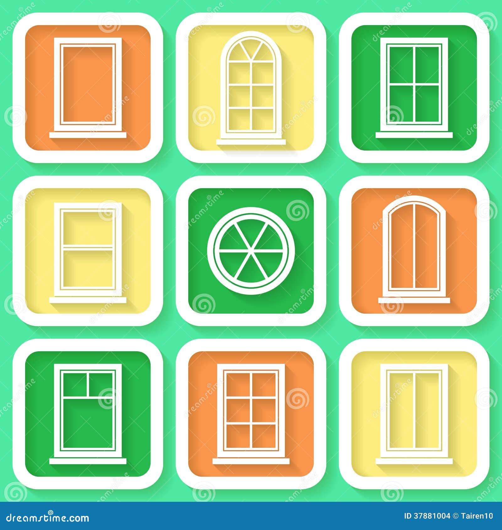 Reeks van 9 pictogrammen van vensters