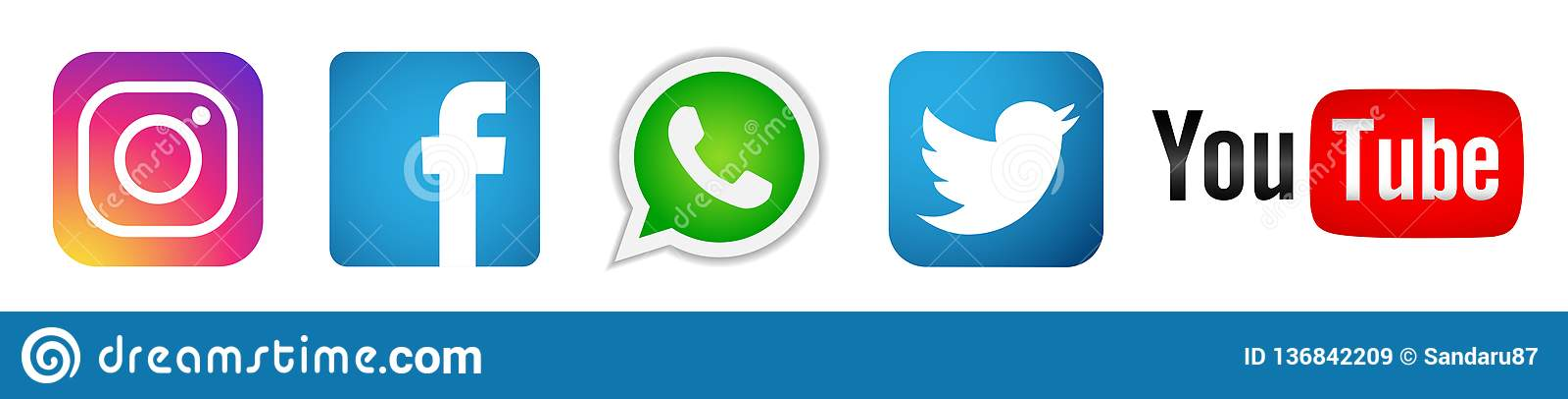 Reeks van populaire sociale media het elementenvector van Instagram Facebook Twitter Youtube WhatsApp van emblemenpictogrammen op