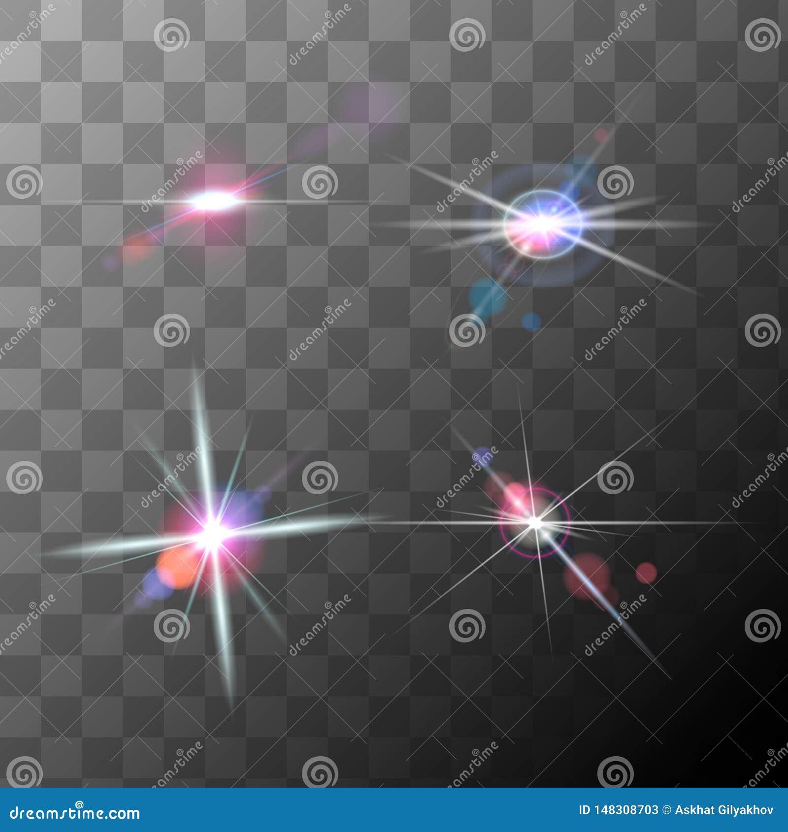 Reeks van realistische hoogte - de gloed van de kwaliteitslens, vector