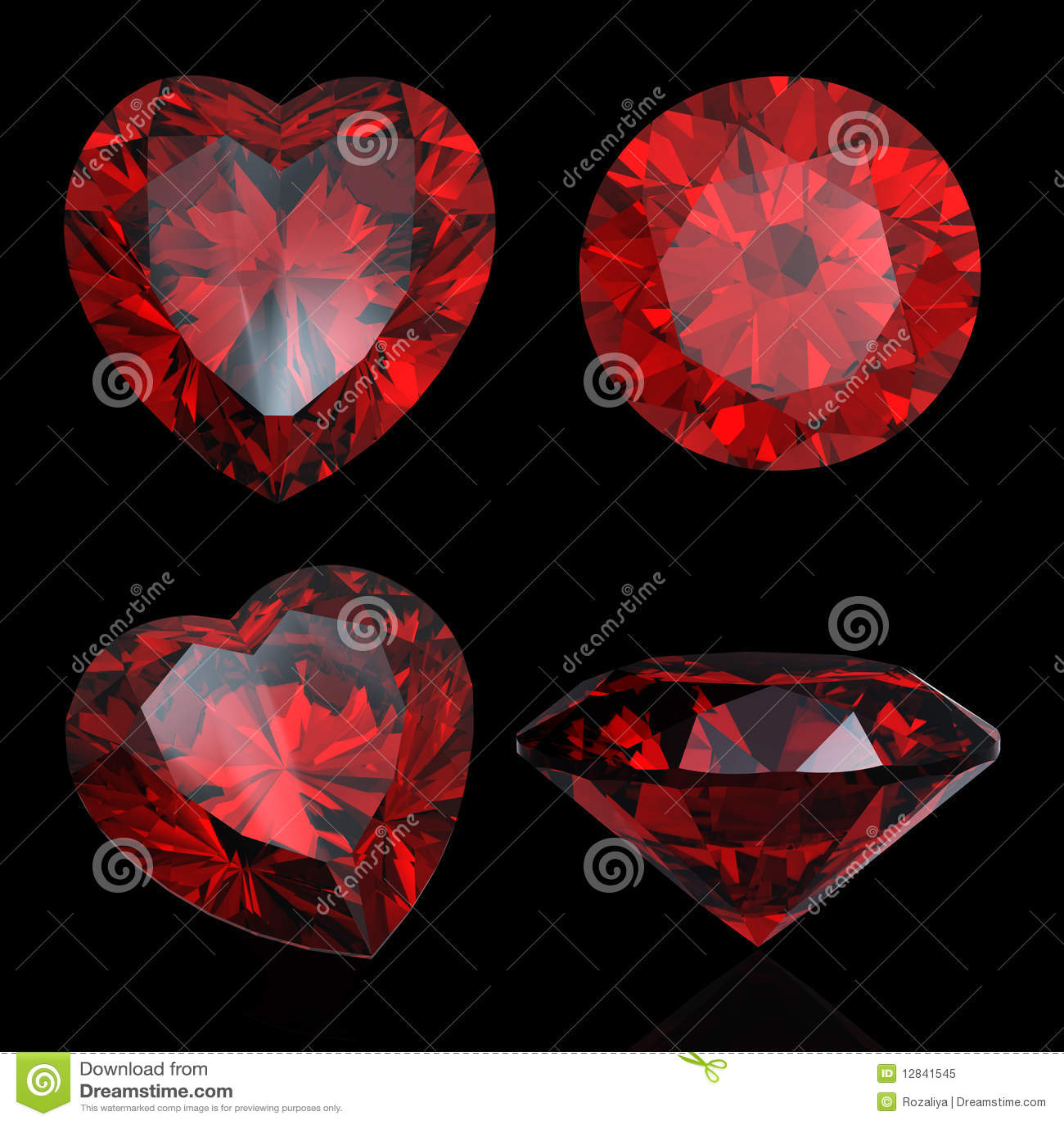 Reeks van rode hart gevormde robijn en granaat