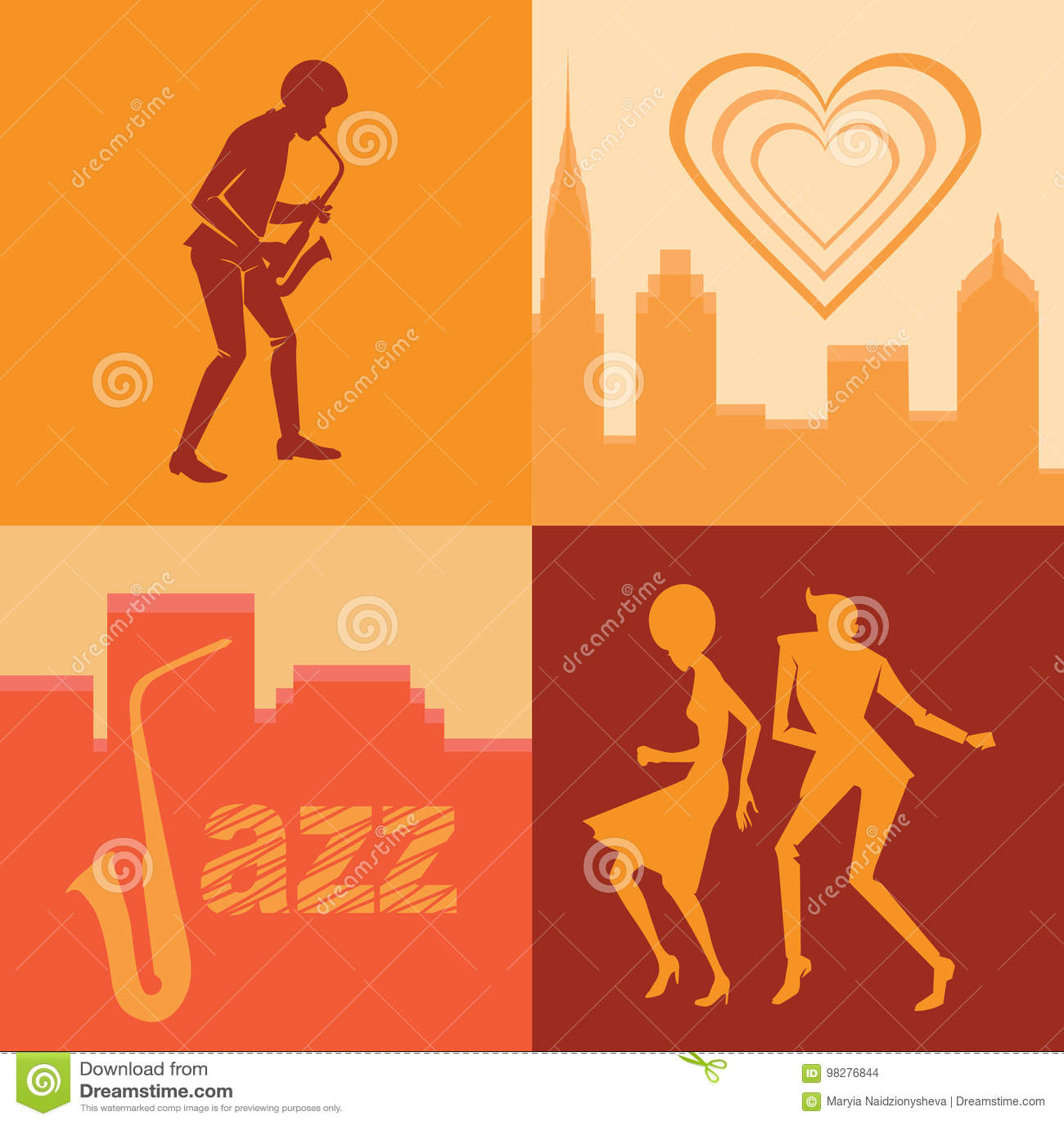 Reeks van silhouettenpaar en musicus