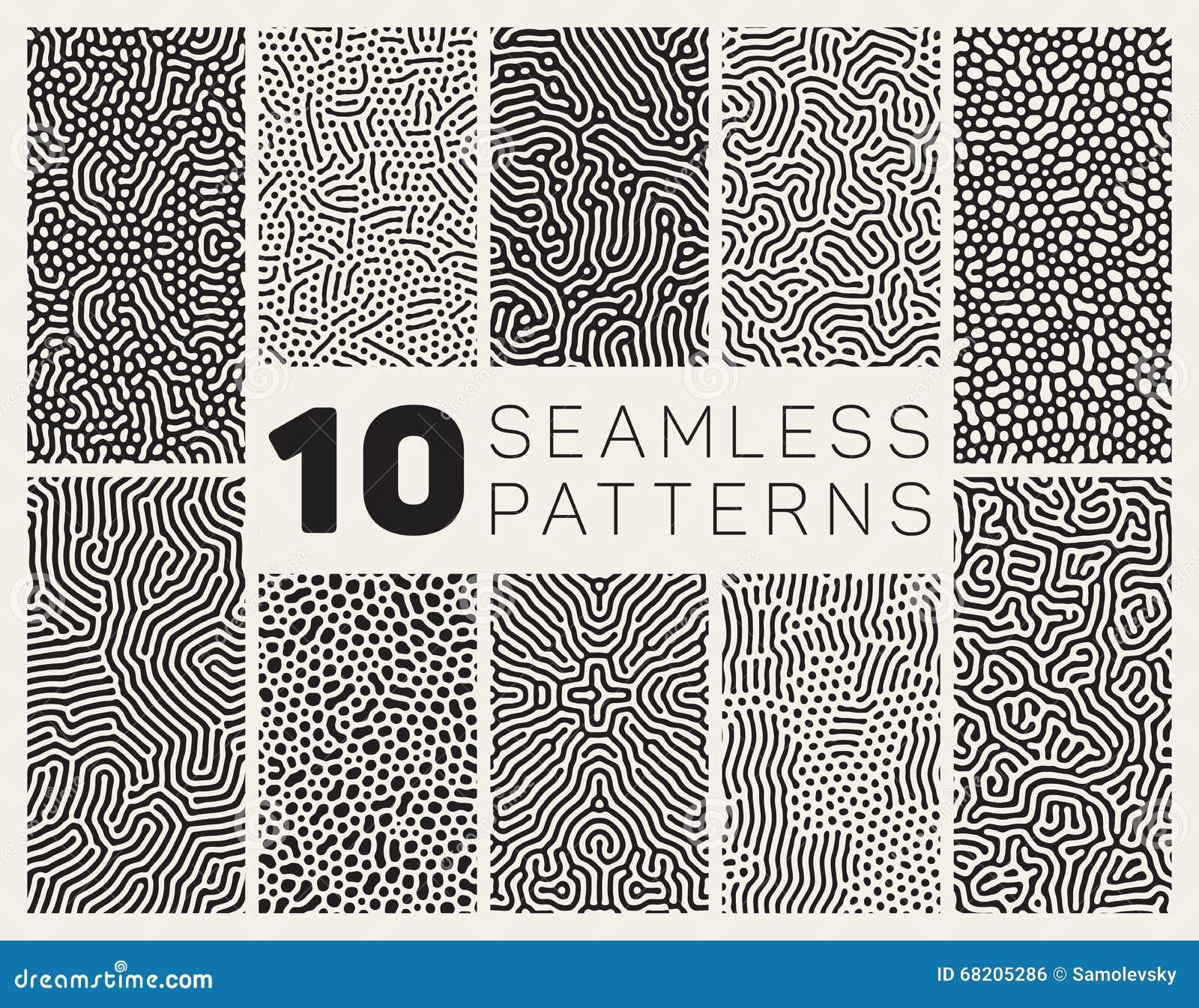 Reeks van Tien Vector Naadloos Zwart-wit Organisch Rond gemaakt Allegaartje Maze Lines Patterns