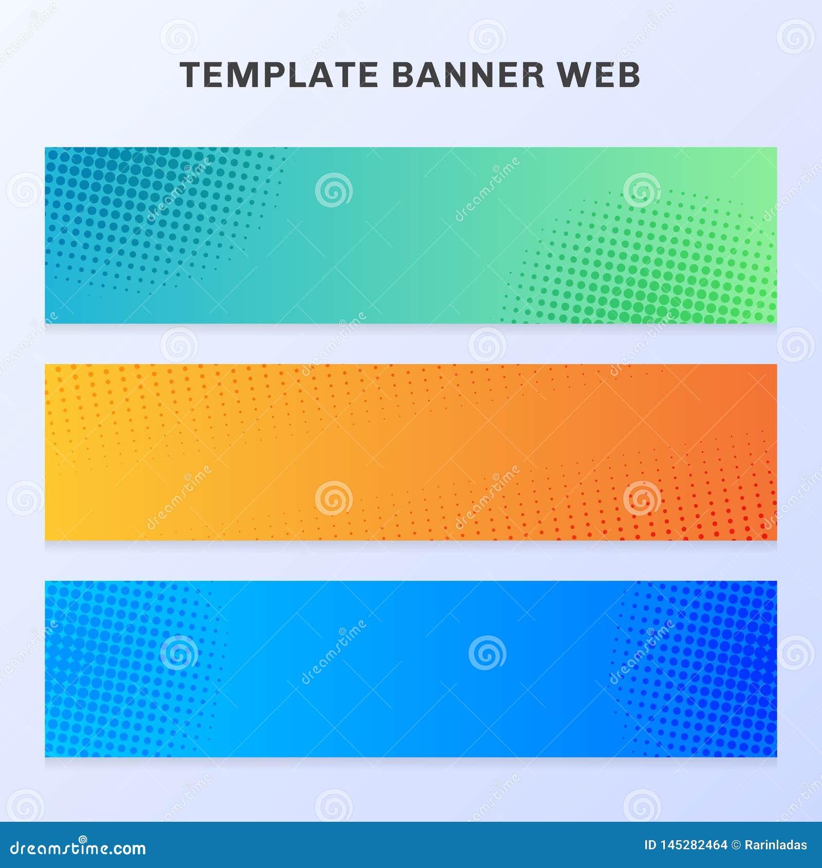 Reeks van trillende de gradi?ntkleur van het bannerweb met halftone textuur en achtergrond U kunt voor vlieger, etiket, lusje, br