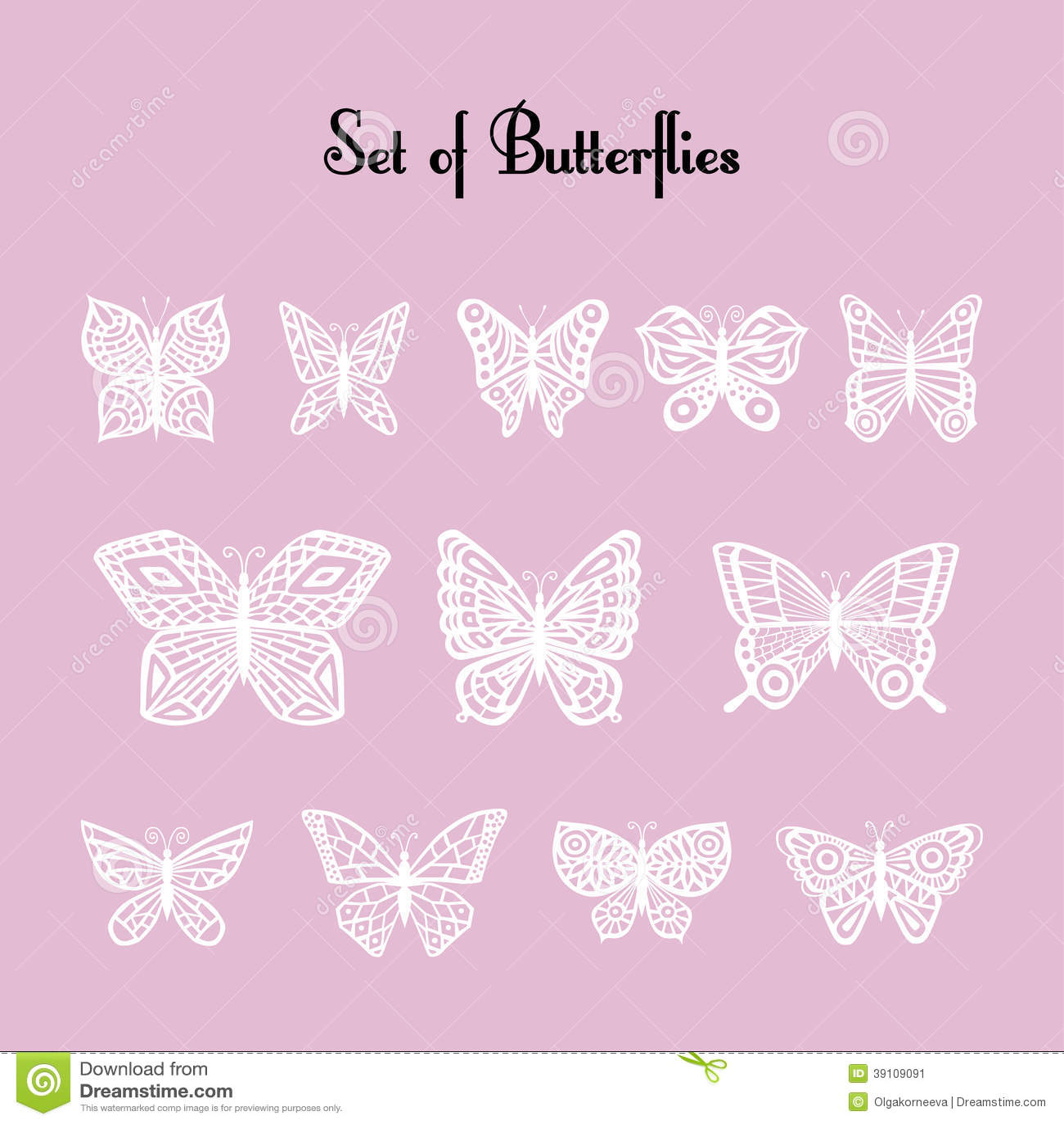 Reeks van van silhouet van vlinders.