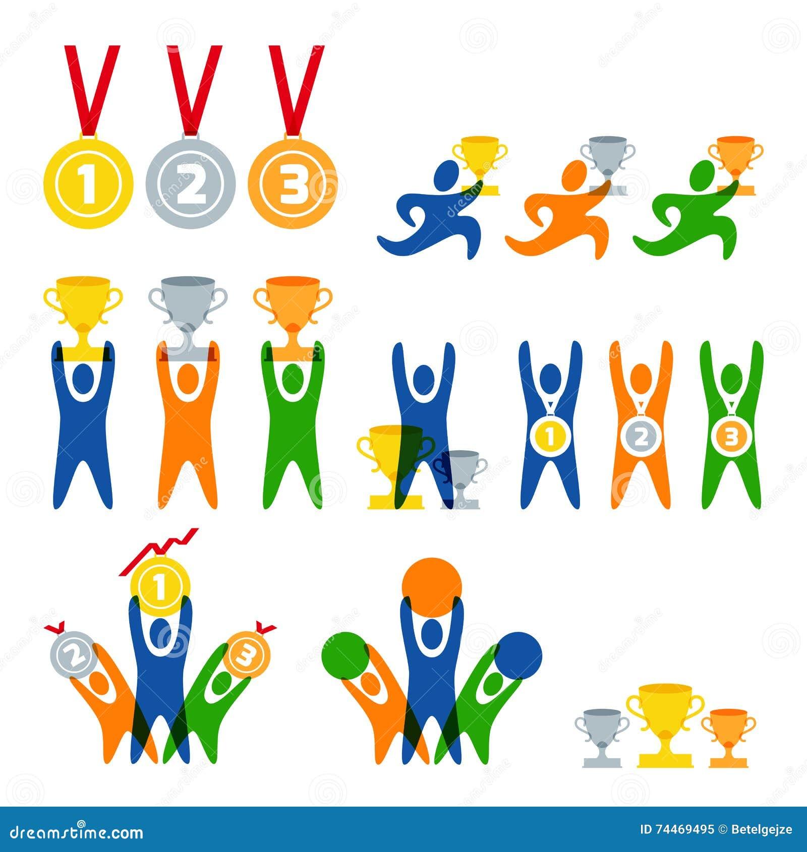 Reeks van vector menselijk sportembleem, etiketten, kentekens, emblemen Mensen en sportencompetities pictogrammen Winnaar met toe