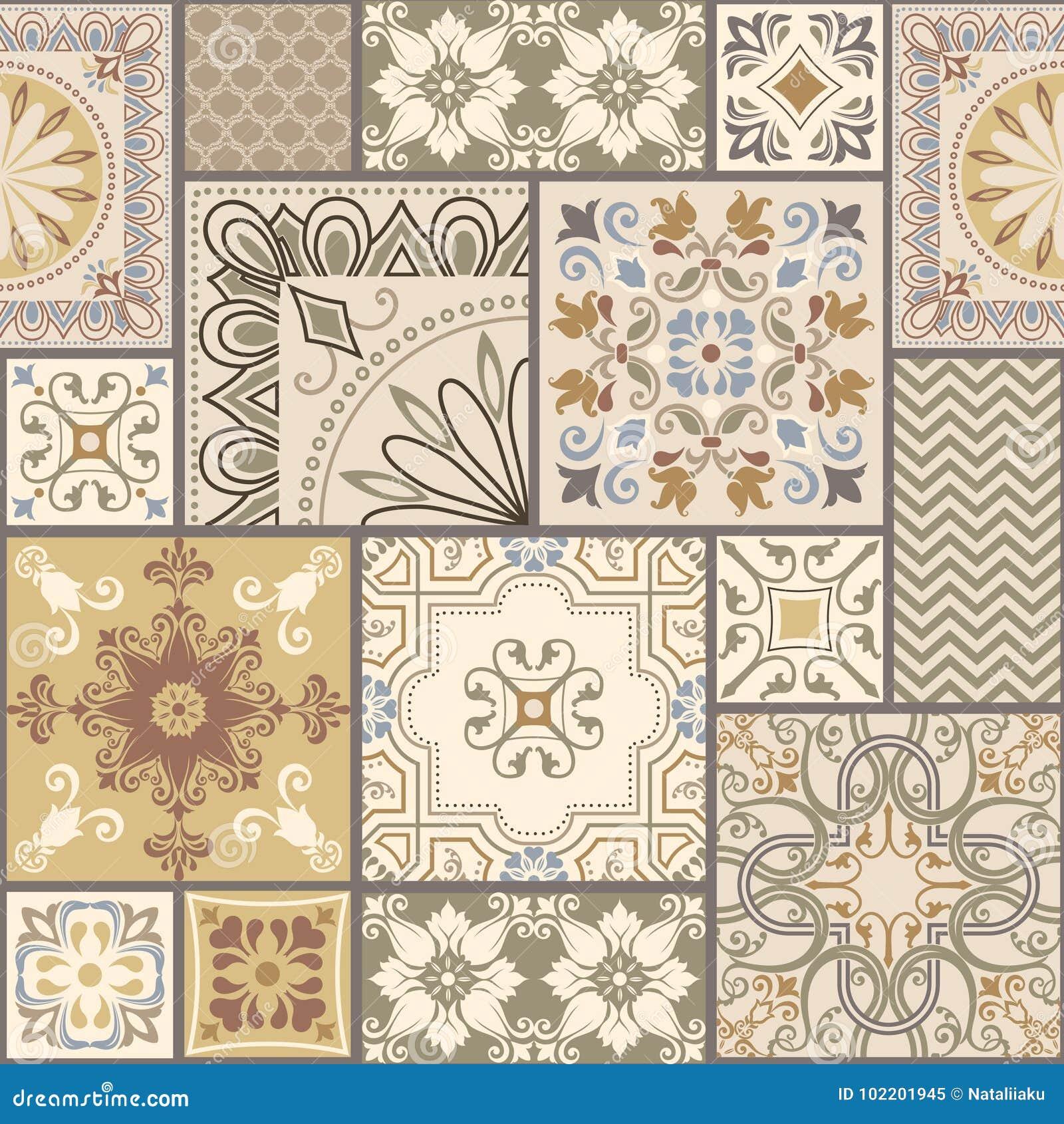 Reeks van verschillend naadloos geometrisch patroon, textuur voor behang, tegels, Web-pagina achtergrond, stof en het verpakken d