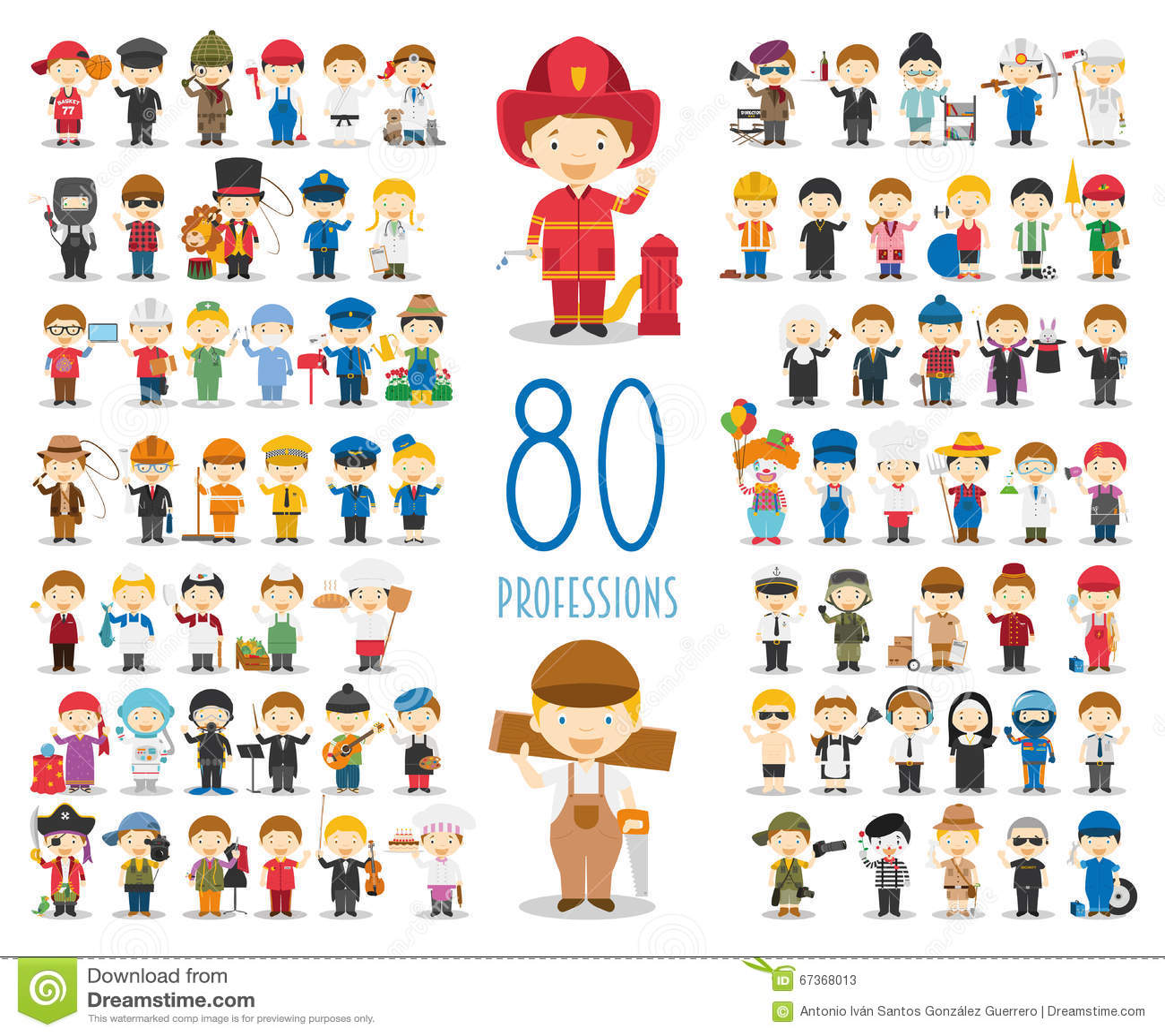 Reeks van 80 verschillende beroepen in beeldverhaalstijl