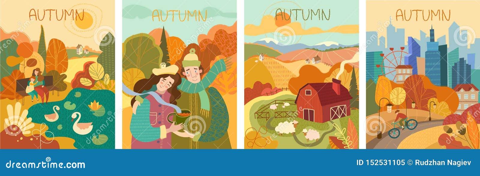 Reeks van vier kleurrijke afbeeldingen van het de herfstleven